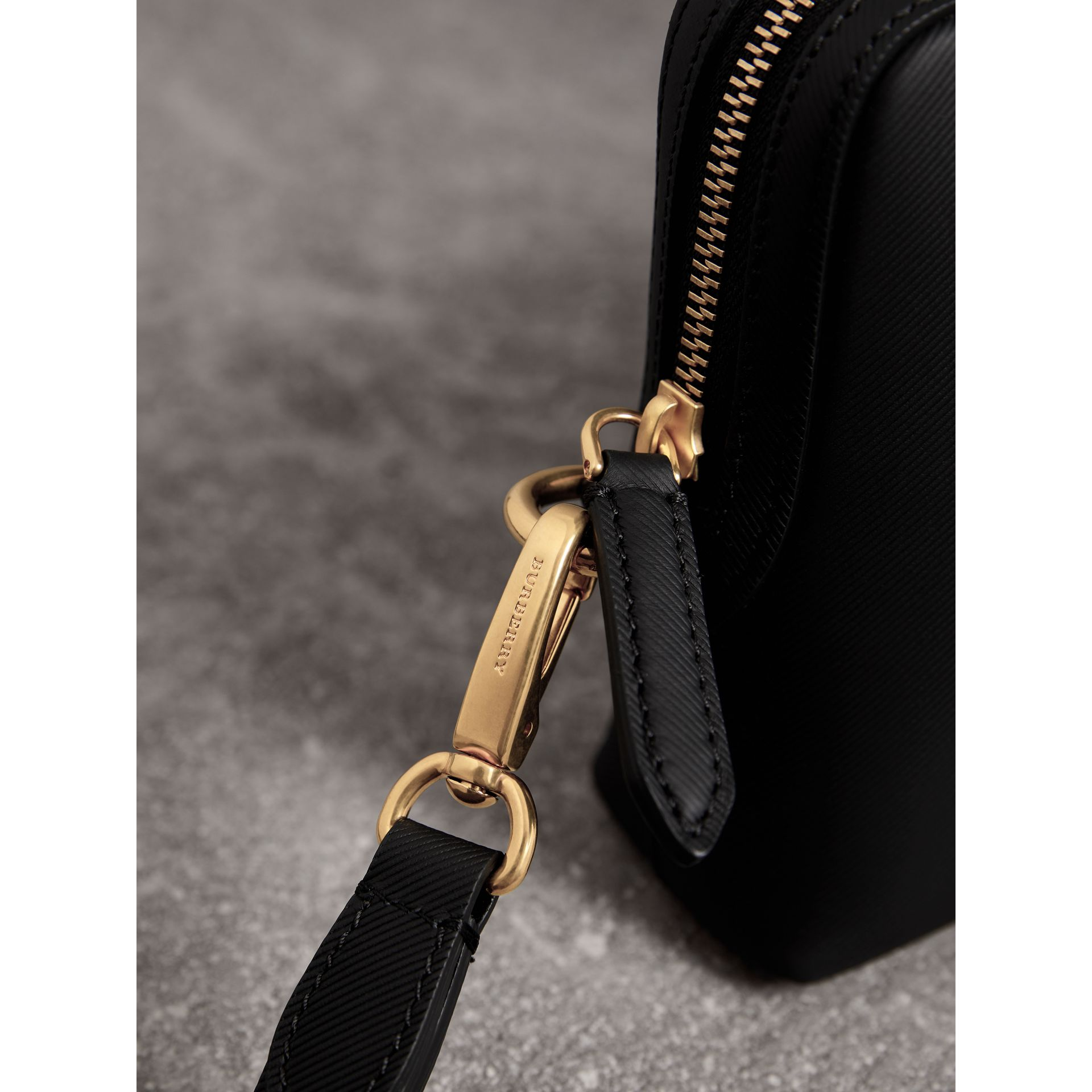 Trench Leather Pouch in Black | Burberry Canada - gallery image 1