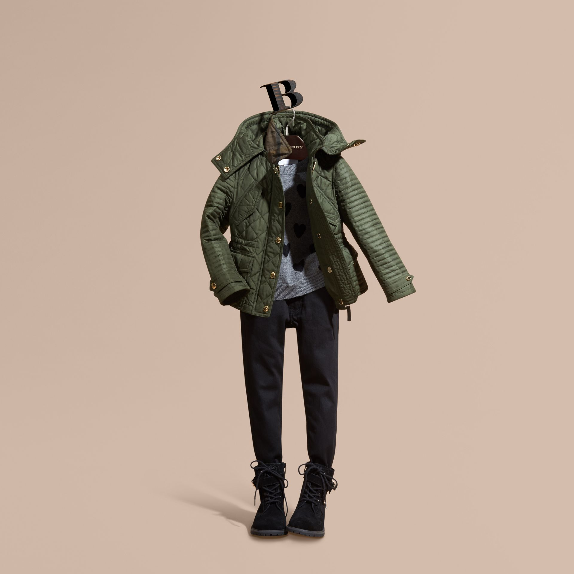 Olive Quilted Jacket with Detachable Hood - gallery image 1