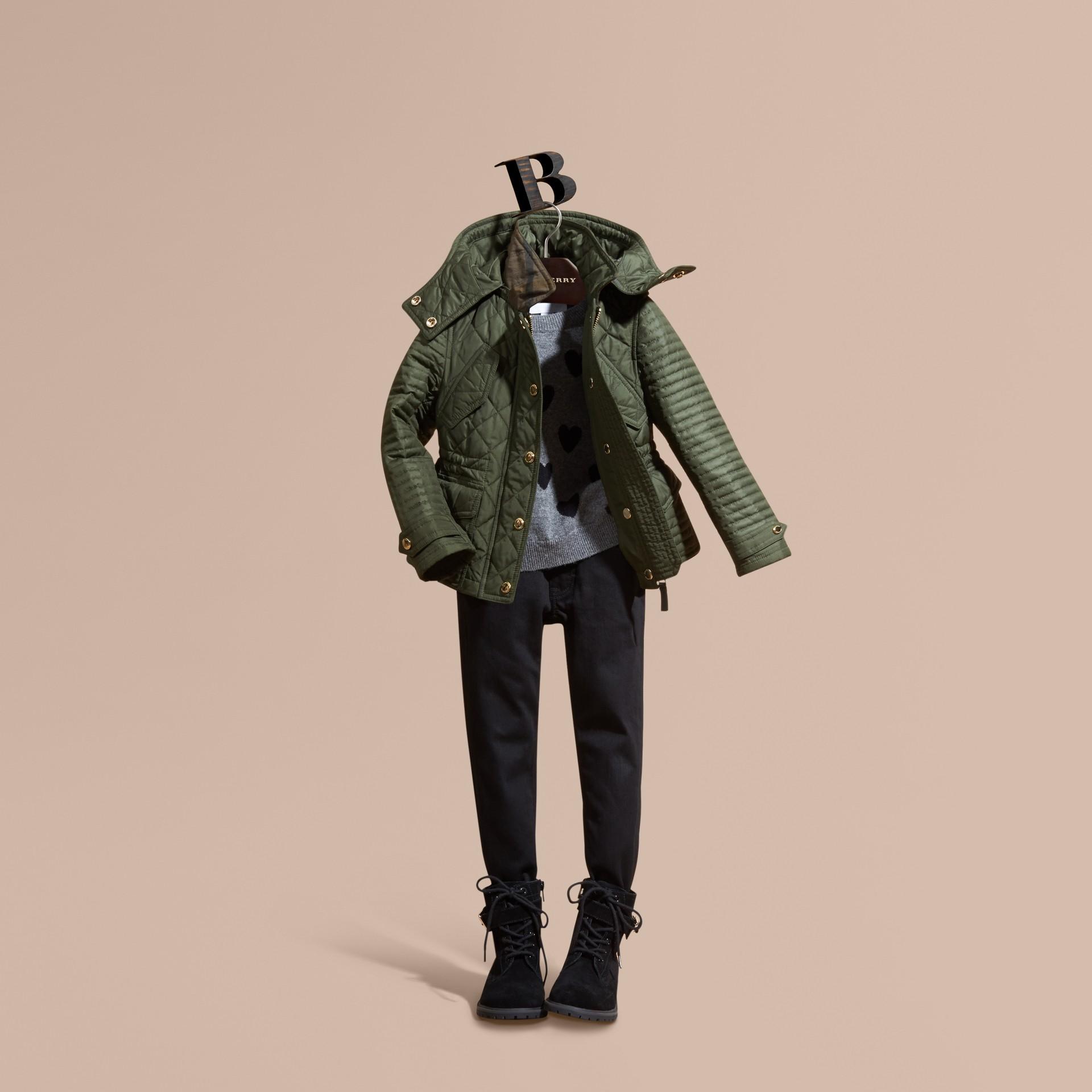 Oliva Giacca trapuntata con cappuccio amovibile - immagine della galleria 1