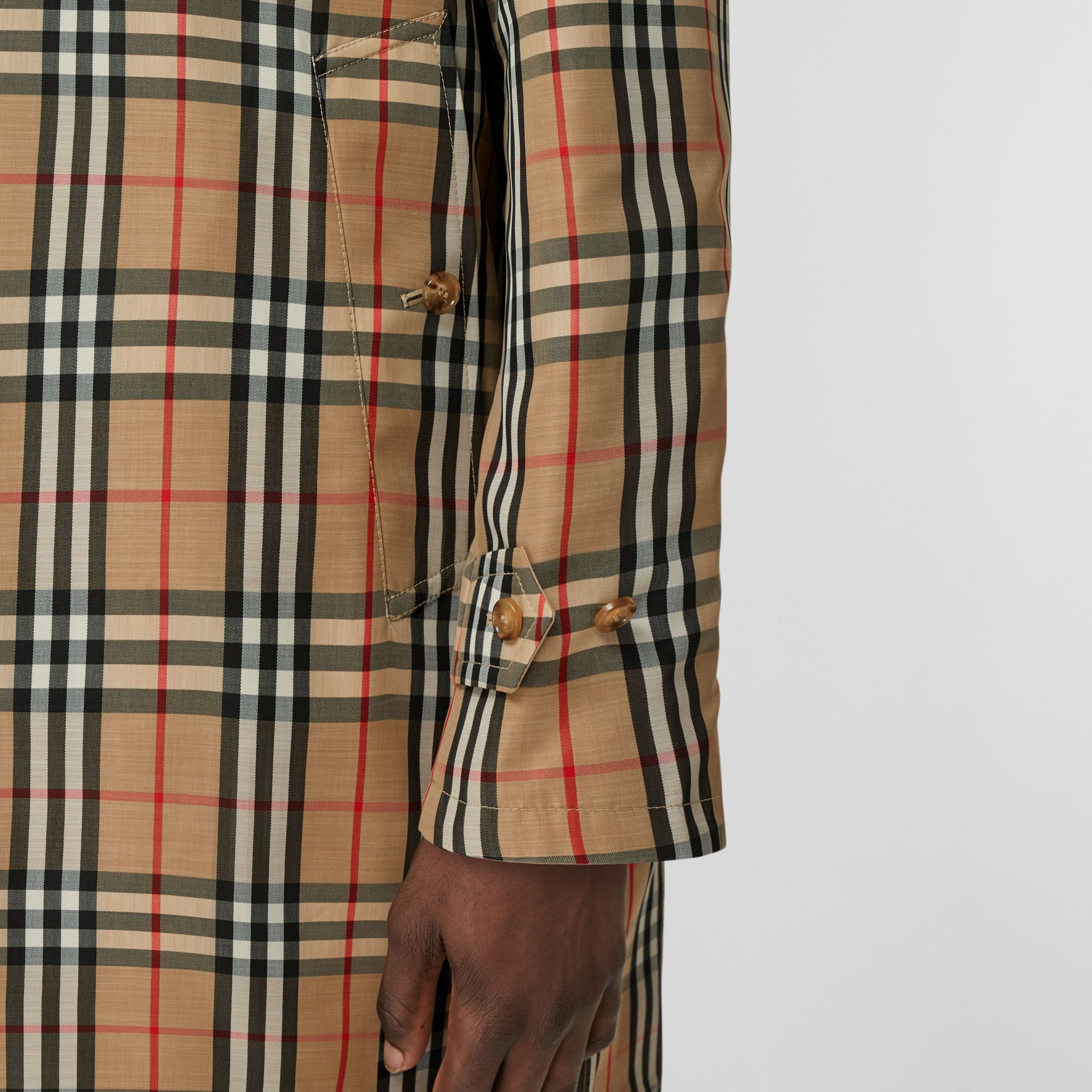 Reversible Vintage Check Recycled Polyester Car Coat in Archive Beige - Men | Burberry - gallery image 8