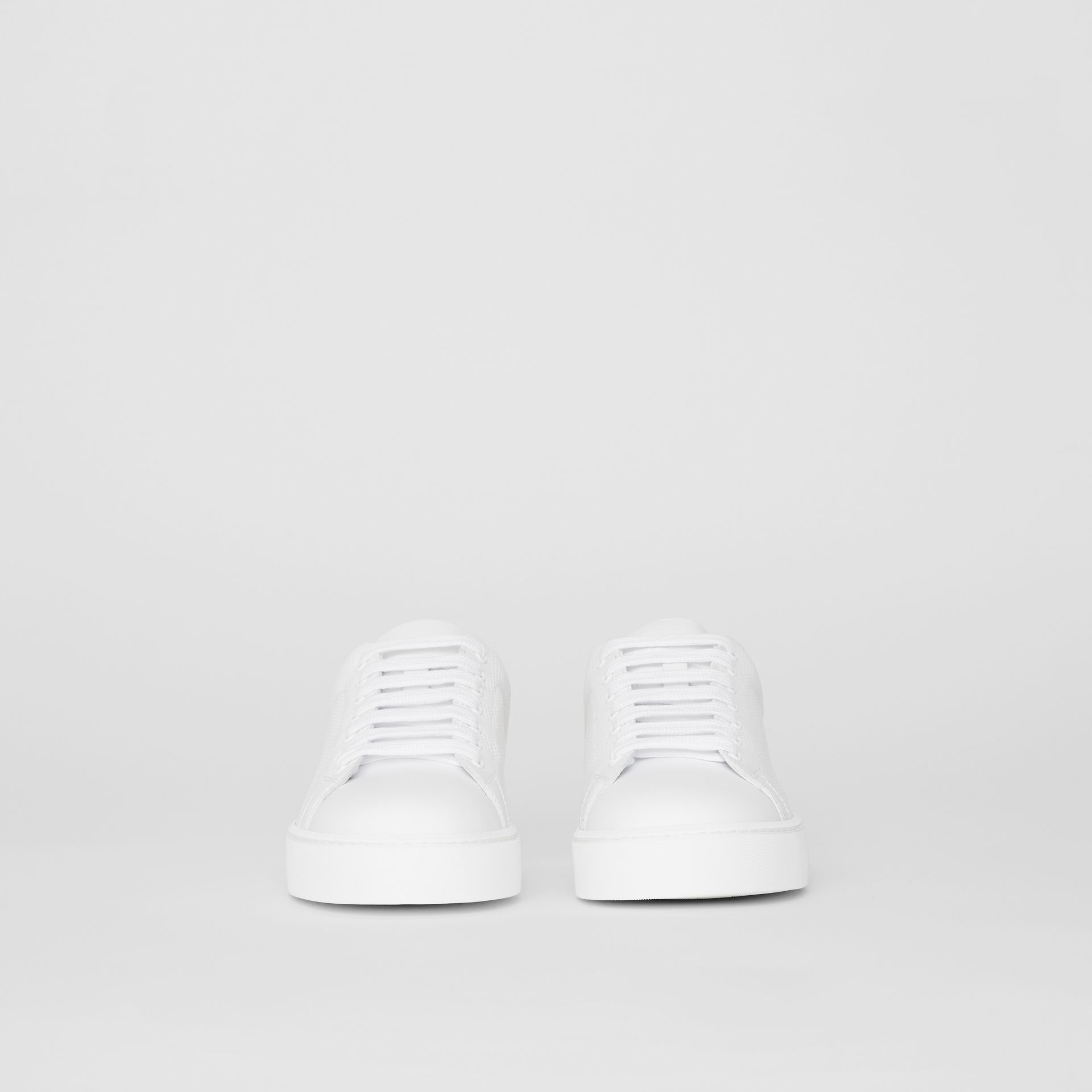Perforated Check Leather Sneakers in Optic White - Women | Burberry Australia - gallery image 3