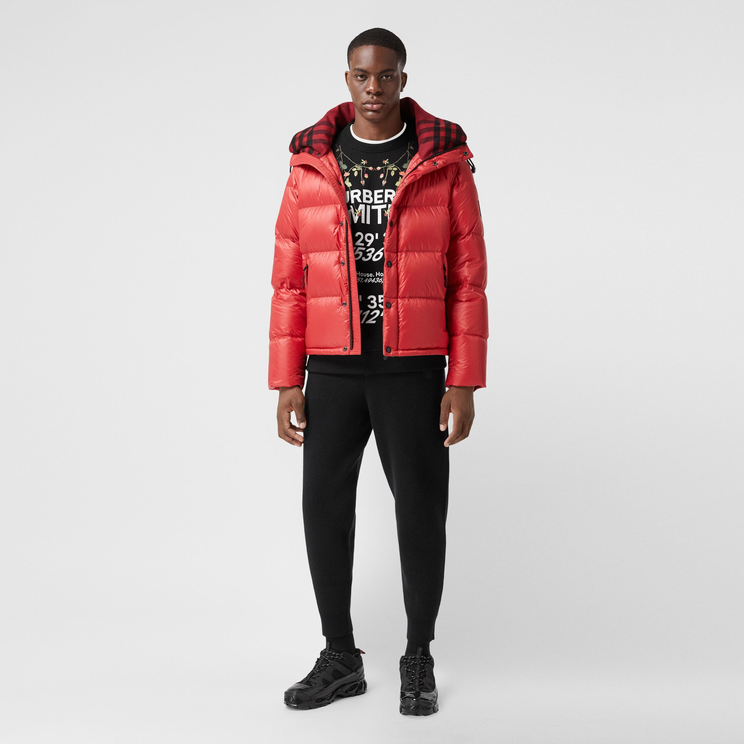 Detachable Sleeve Hooded Puffer Jacket in Bright Red - Men | Burberry Australia - 1