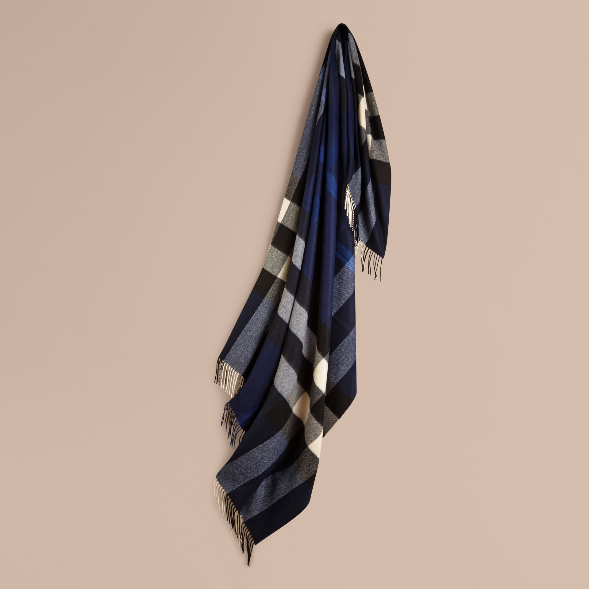 Check Cashmere Blanket in Indigo Blue | Burberry United Kingdom - gallery image 1