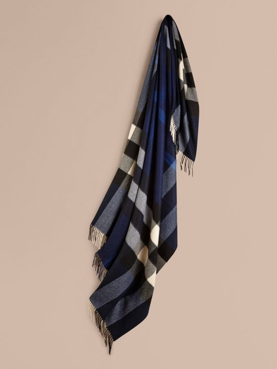 Check Cashmere Blanket in Indigo Blue