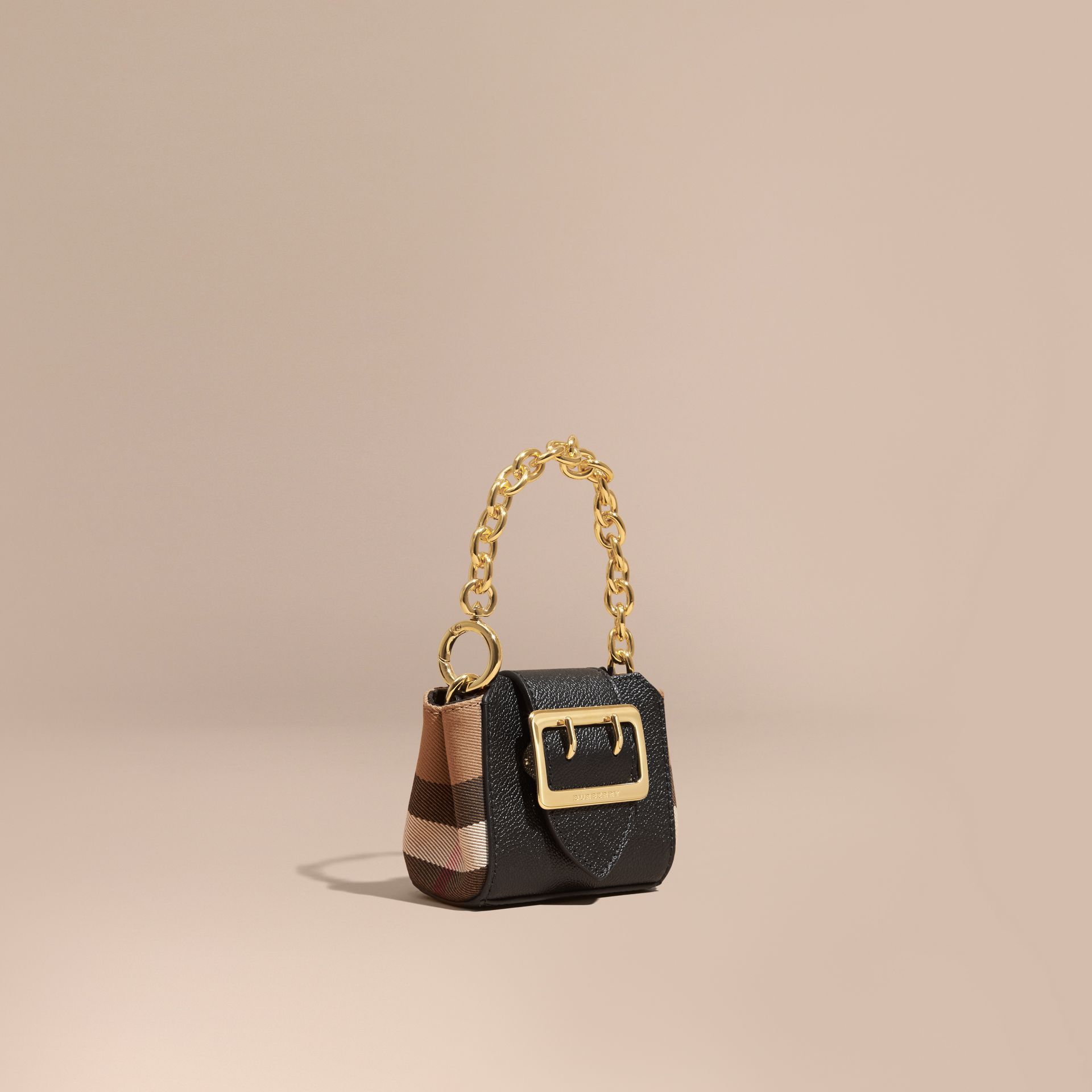 43e7f1497a The Mini Buckle Tote Charm In Leather And House Check Dusty Pink Burberry |  2019 trends | xoosha
