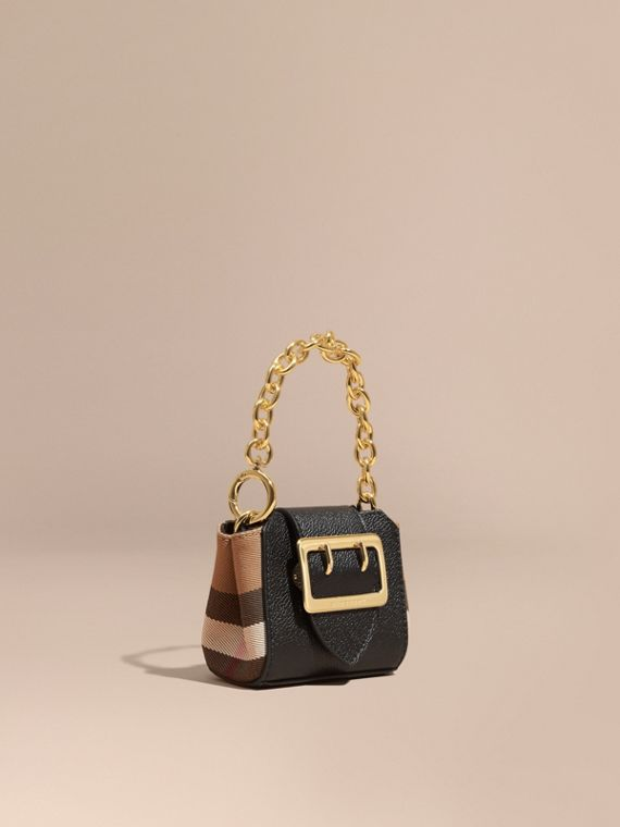 The Mini Buckle Tote Charm in Leather and House Check Black