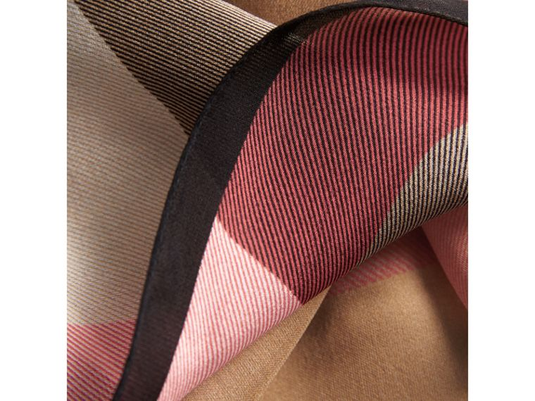 Lightweight Check Silk Scarf in Camel - Women | Burberry Canada - cell image 1