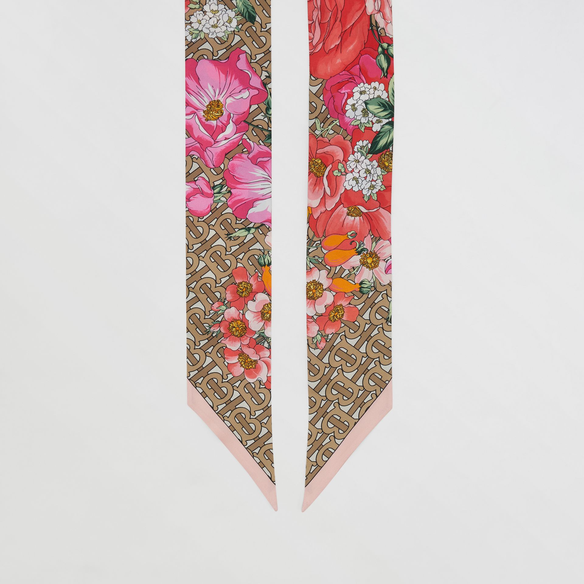 Floral and Monogram Print Silk Skinny Scarf in Archive Beige | Burberry United States - gallery image 2