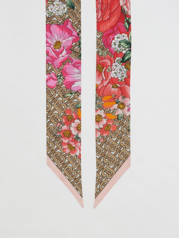 Floral and Monogram Print Silk Skinny Scarf in Archive Beige | Burberry United States - cell image 2