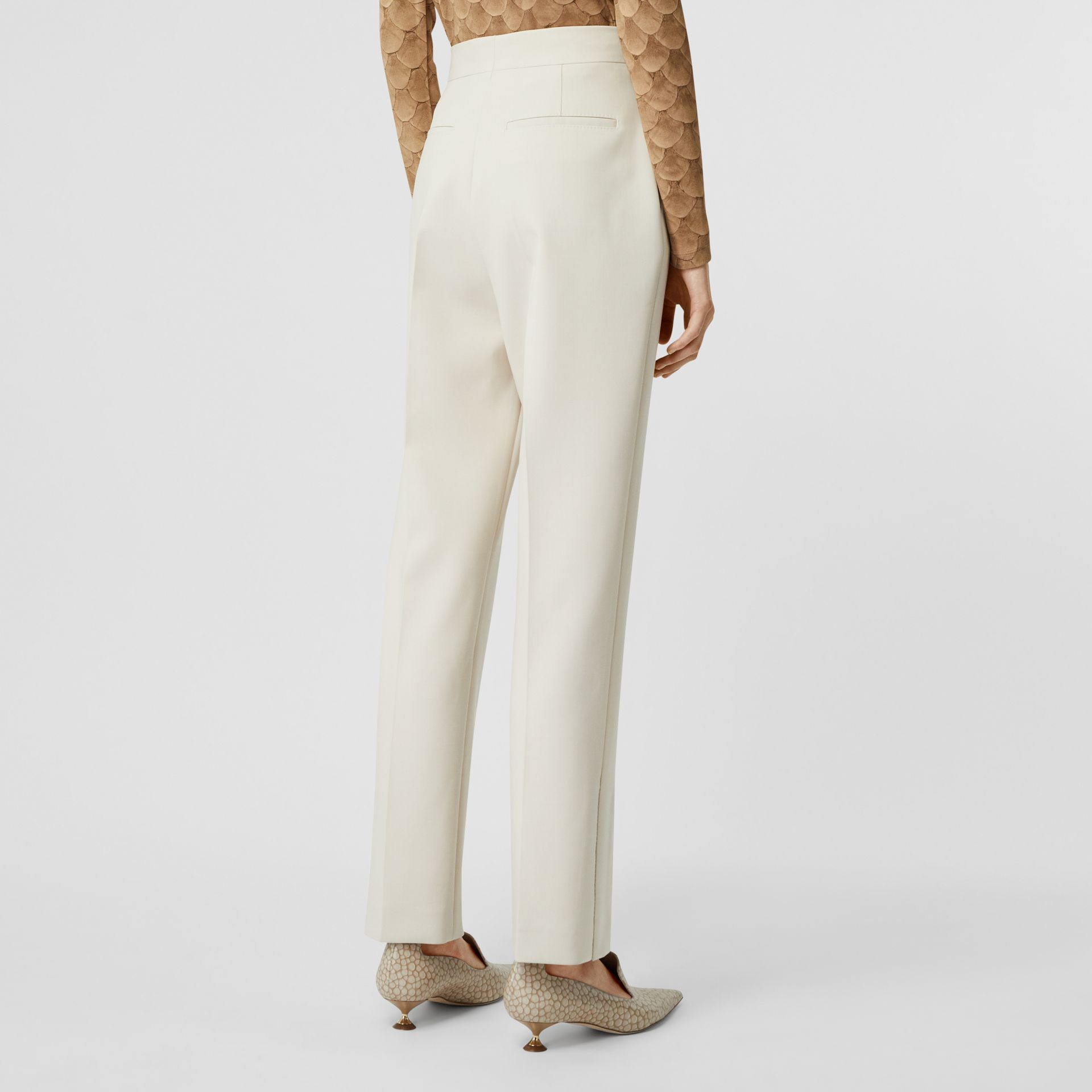 Straight Fit Stretch Wool Tailored Trousers in Pale Ochre - Women | Burberry - gallery image 2