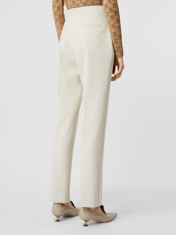 Straight Fit Stretch Wool Tailored Trousers in Pale Ochre - Women | Burberry - cell image 2
