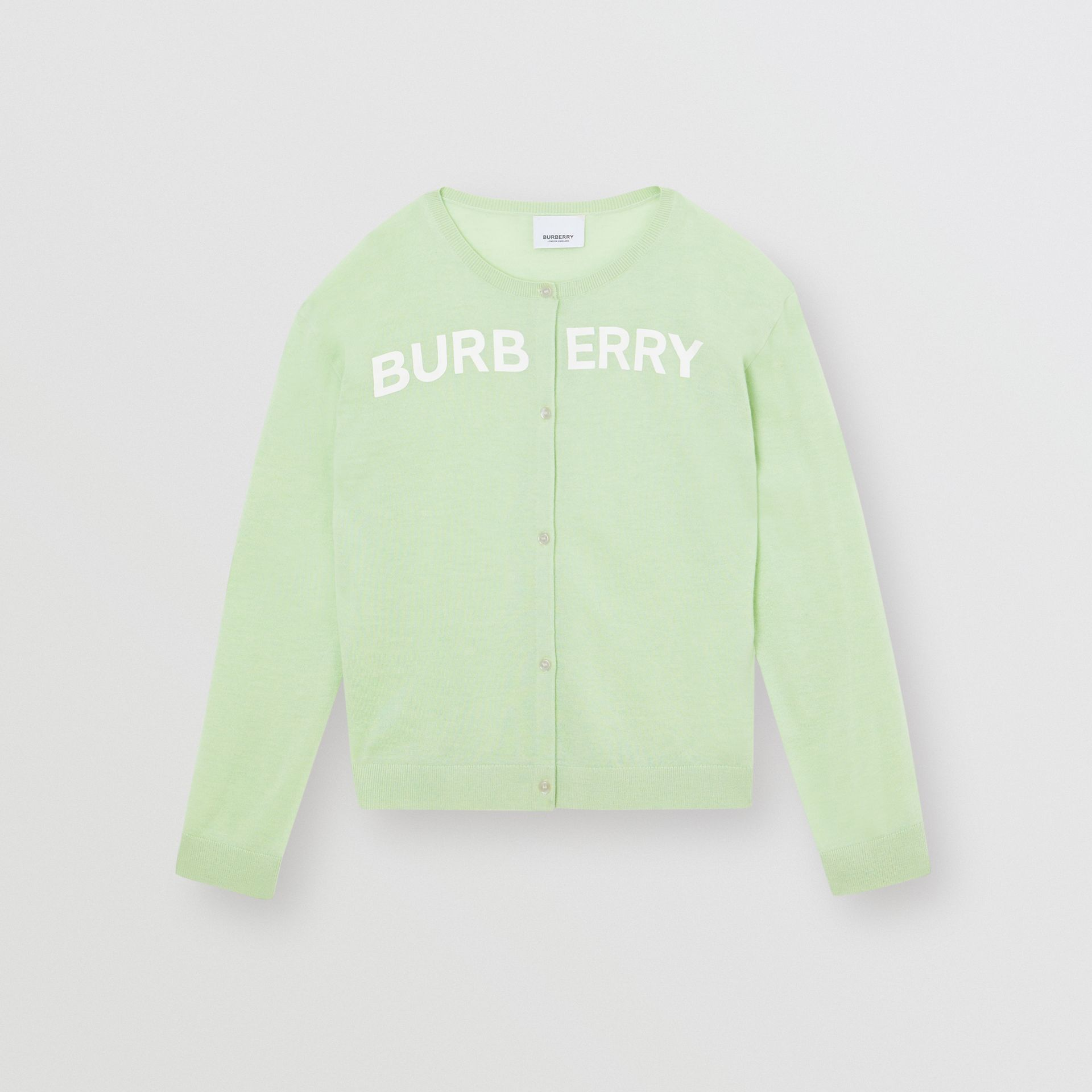Logo Print Cashmere Two-piece Set in Pistachio | Burberry Canada - gallery image 0