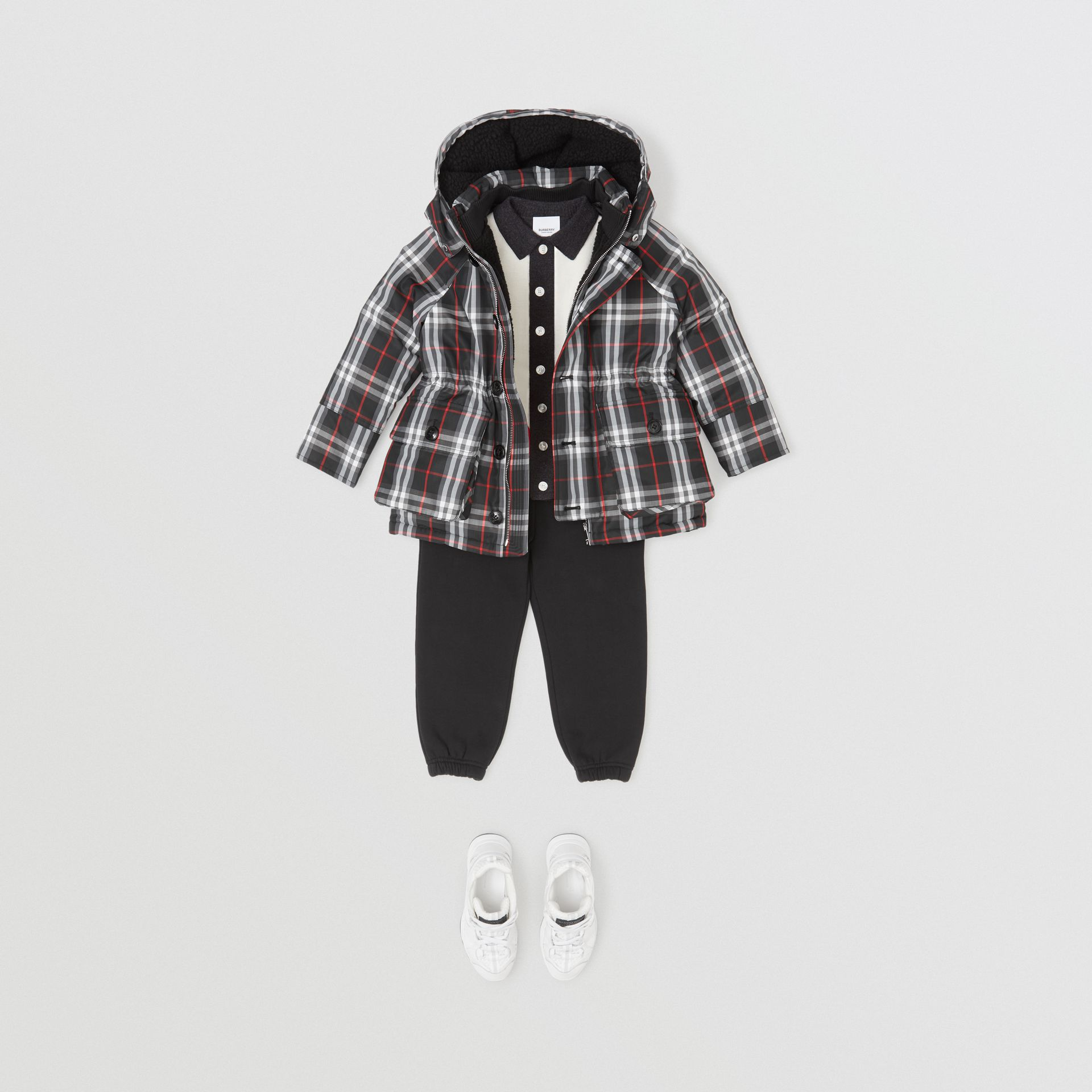 Vintage Check Down-filled Hooded Puffer Jacket in Black | Burberry Australia - gallery image 3