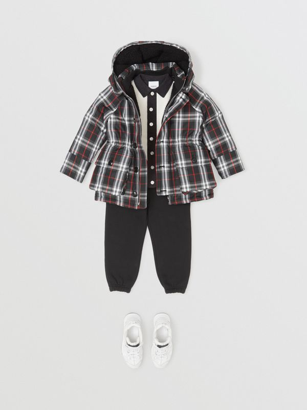 Vintage Check Down-filled Hooded Puffer Jacket in Black | Burberry - cell image 3