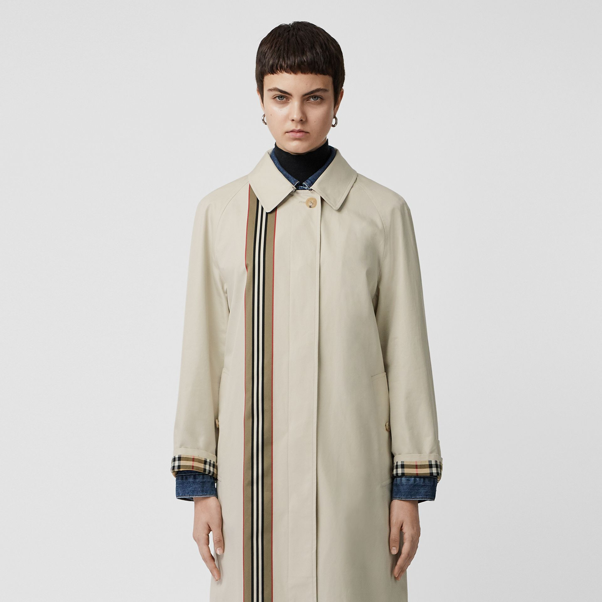 Striped Ribbon Cotton Gabardine Car Coat in Stone - Women | Burberry - gallery image 7