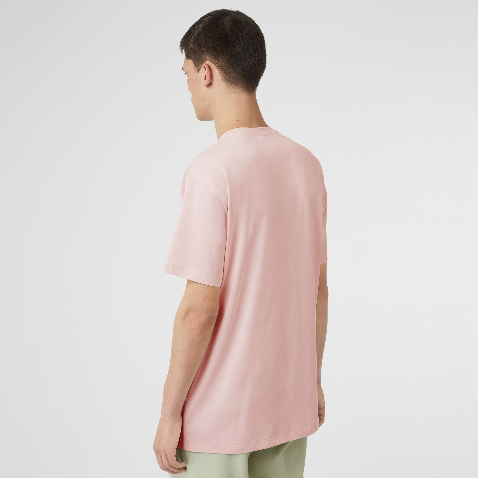 Logo Print Cotton T-shirt in Alabaster Pink - Men | Burberry - gallery image 2