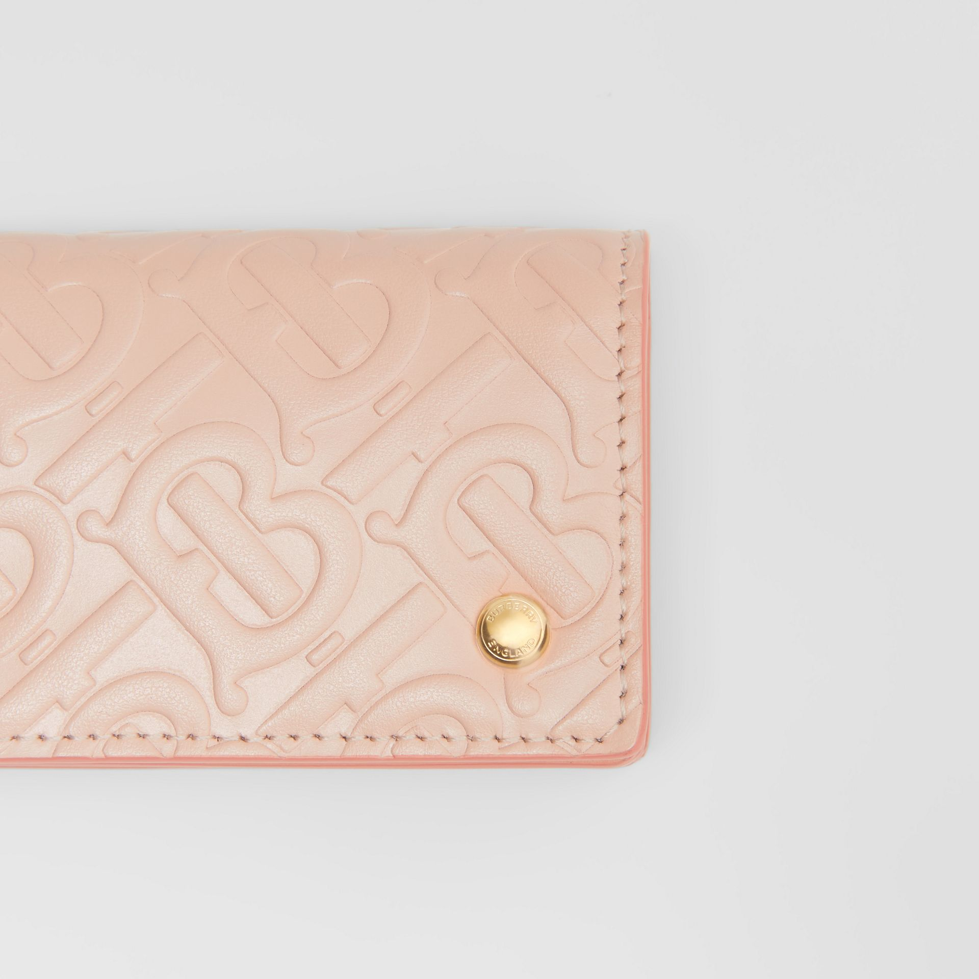 Monogram Leather Card Case in Rose Beige - Women | Burberry - gallery image 1
