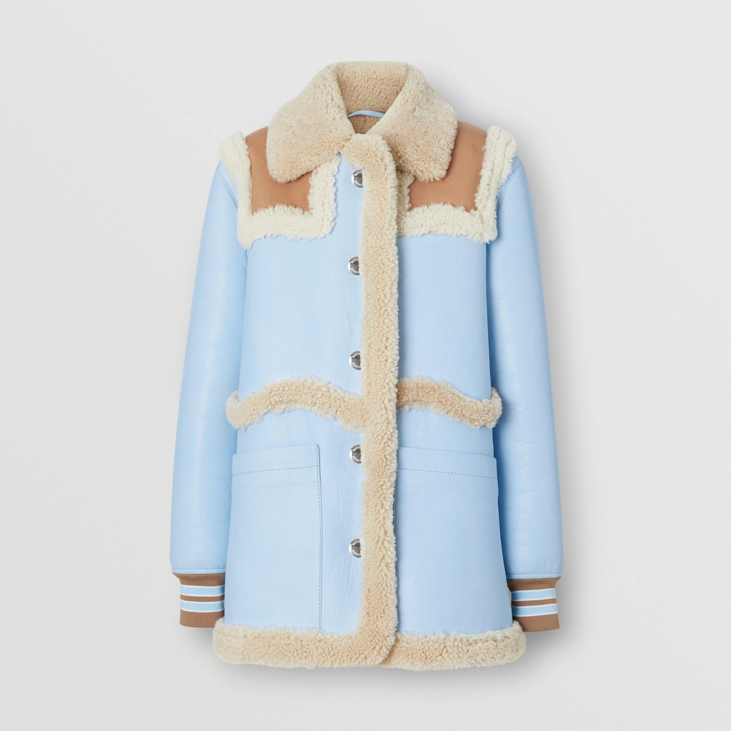 Two-tone Leather and Shearling Coat in Baby Blue - Women | Burberry - 4