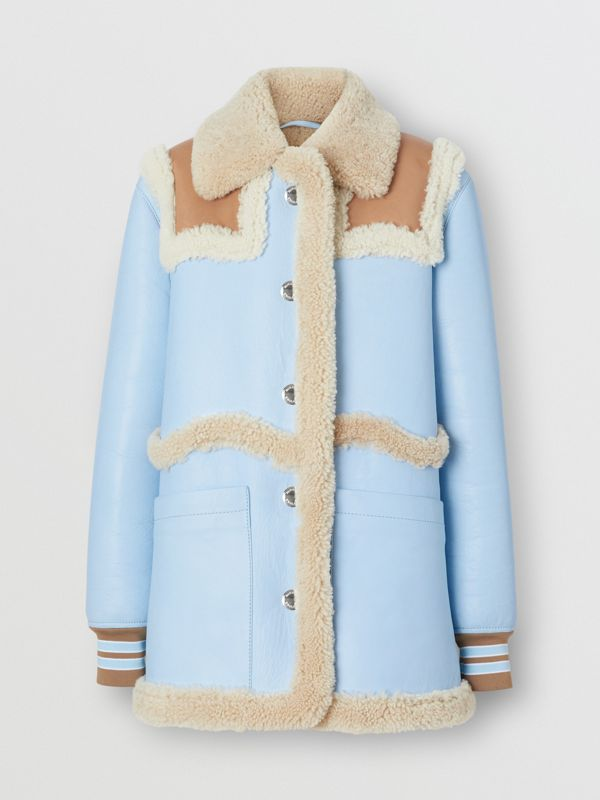 Two-tone Leather and Shearling Coat in Baby Blue - Women | Burberry - cell image 3