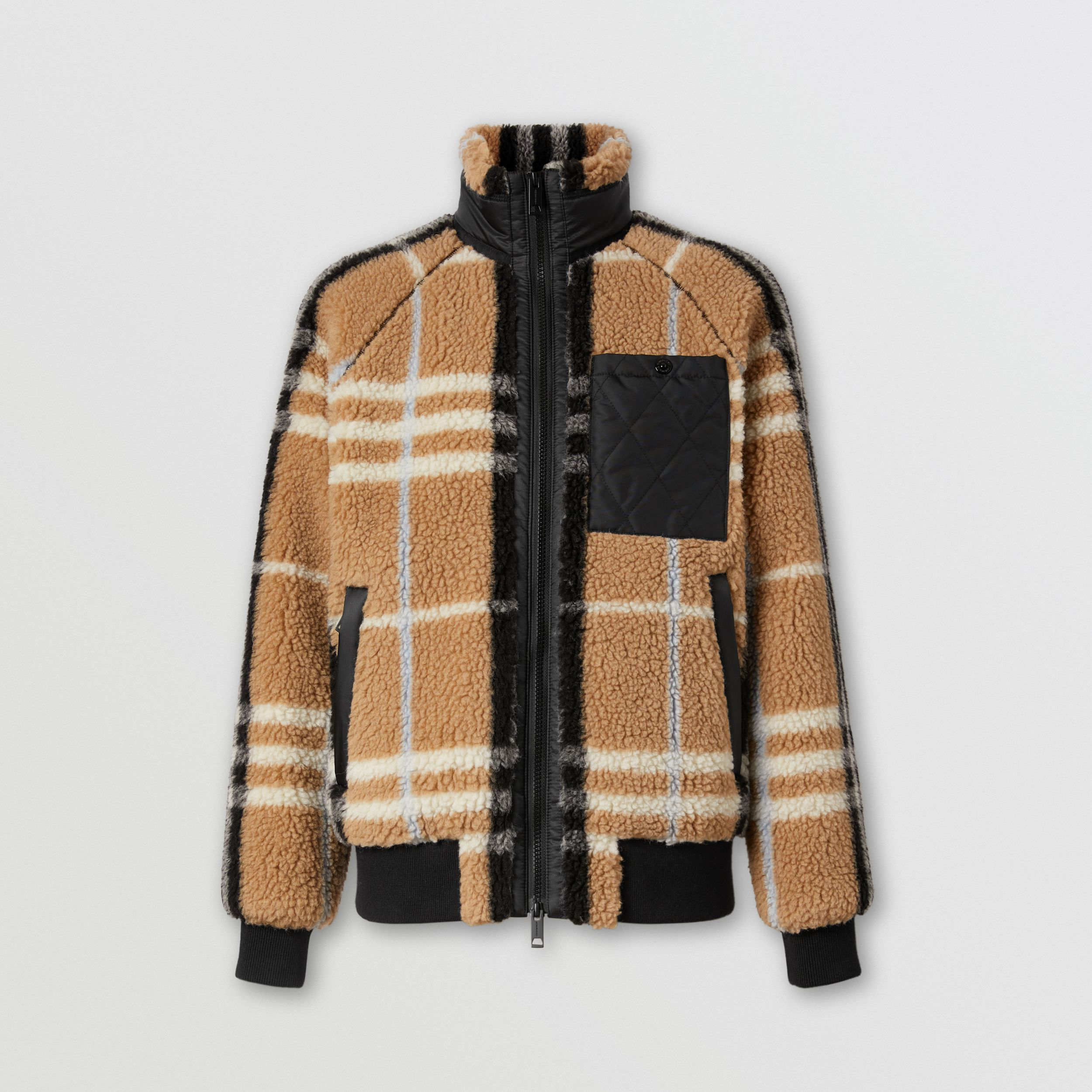 Diamond Quilted Panel Check Fleece Jacquard Jacket in Pale Blue - Women | Burberry Australia - 4
