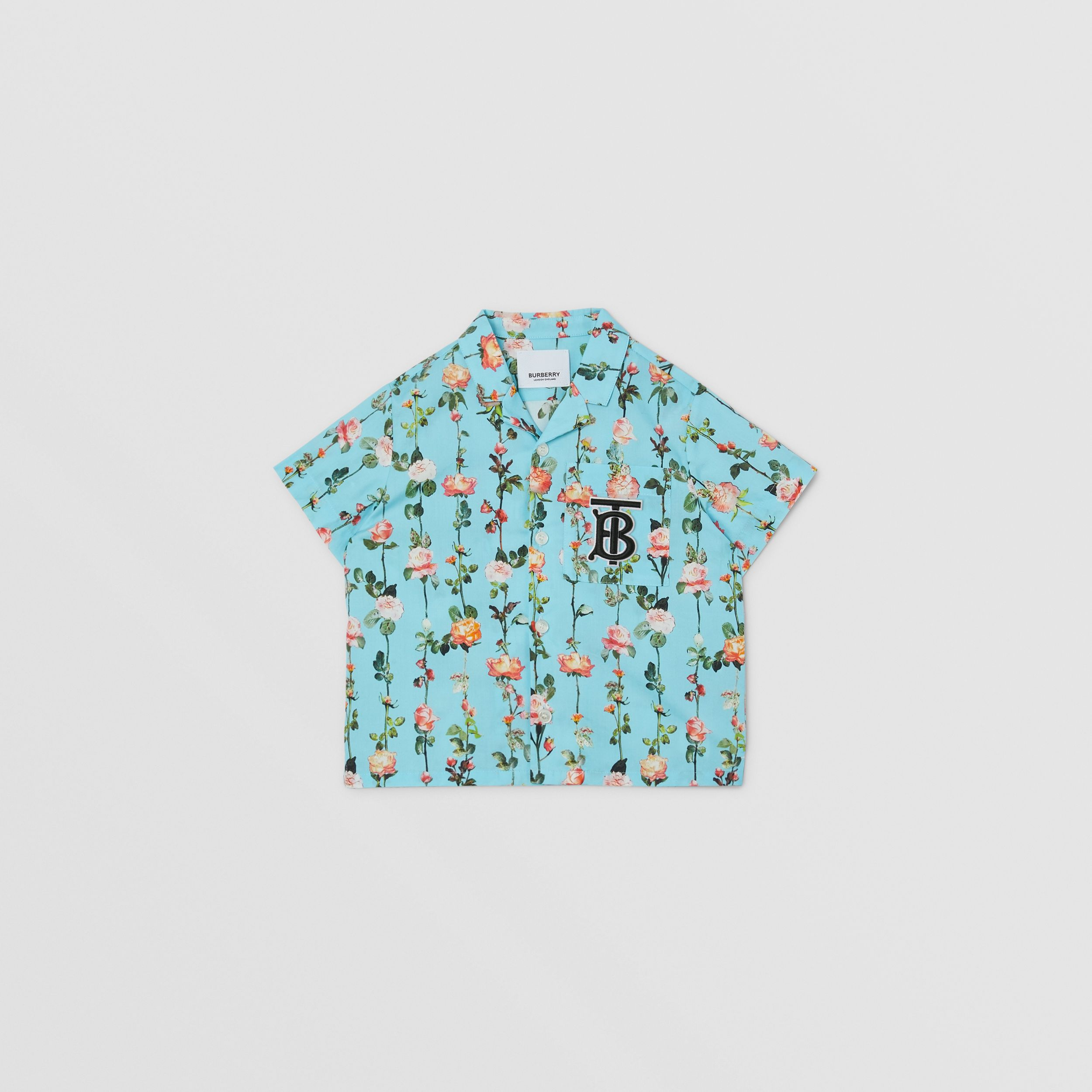 Short-sleeve Monogram Motif Rose Print Cotton Shirt in Blue Topaz | Burberry - 1