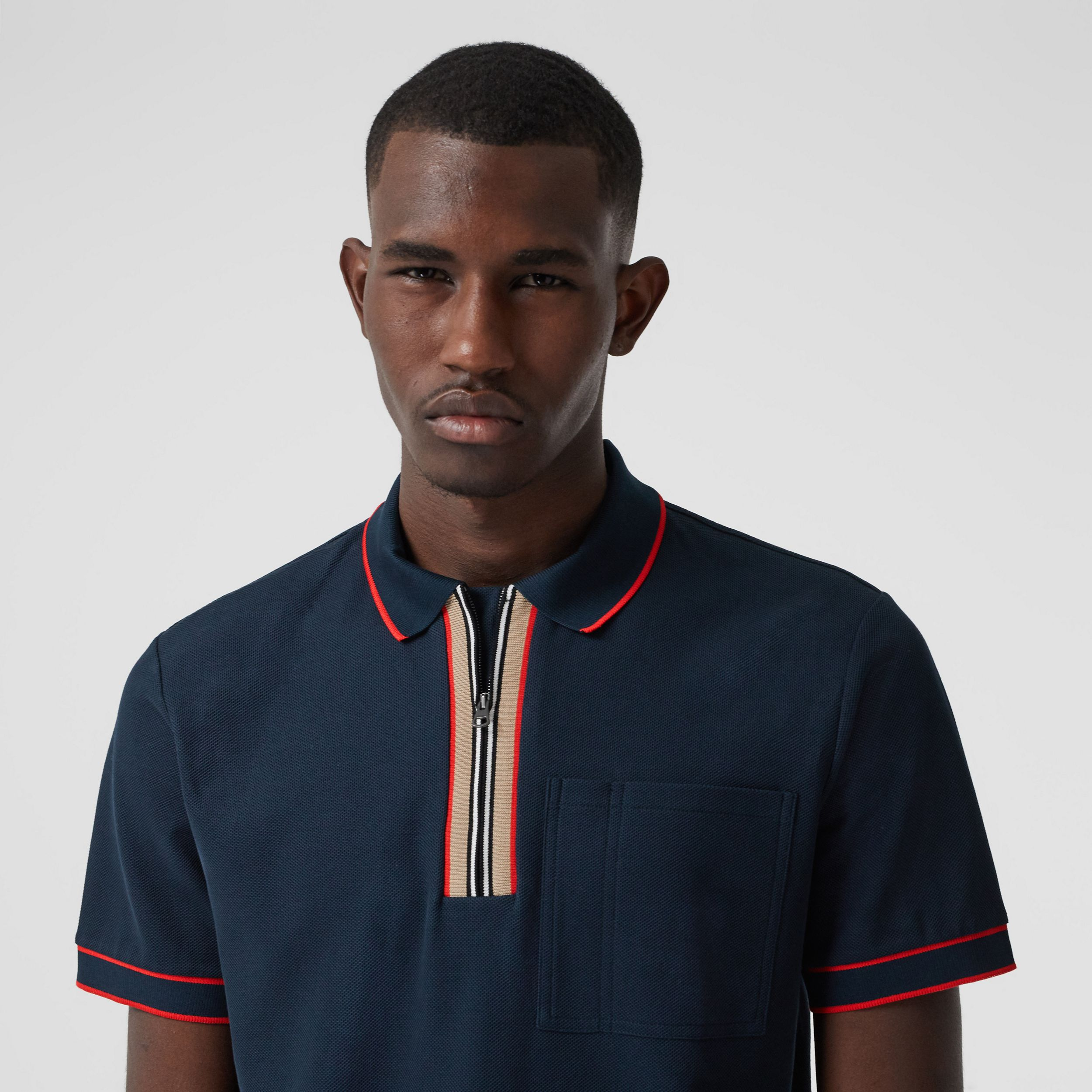 Icon Stripe Detail Cotton Zip-front Polo Shirt in Navy - Men | Burberry - 2