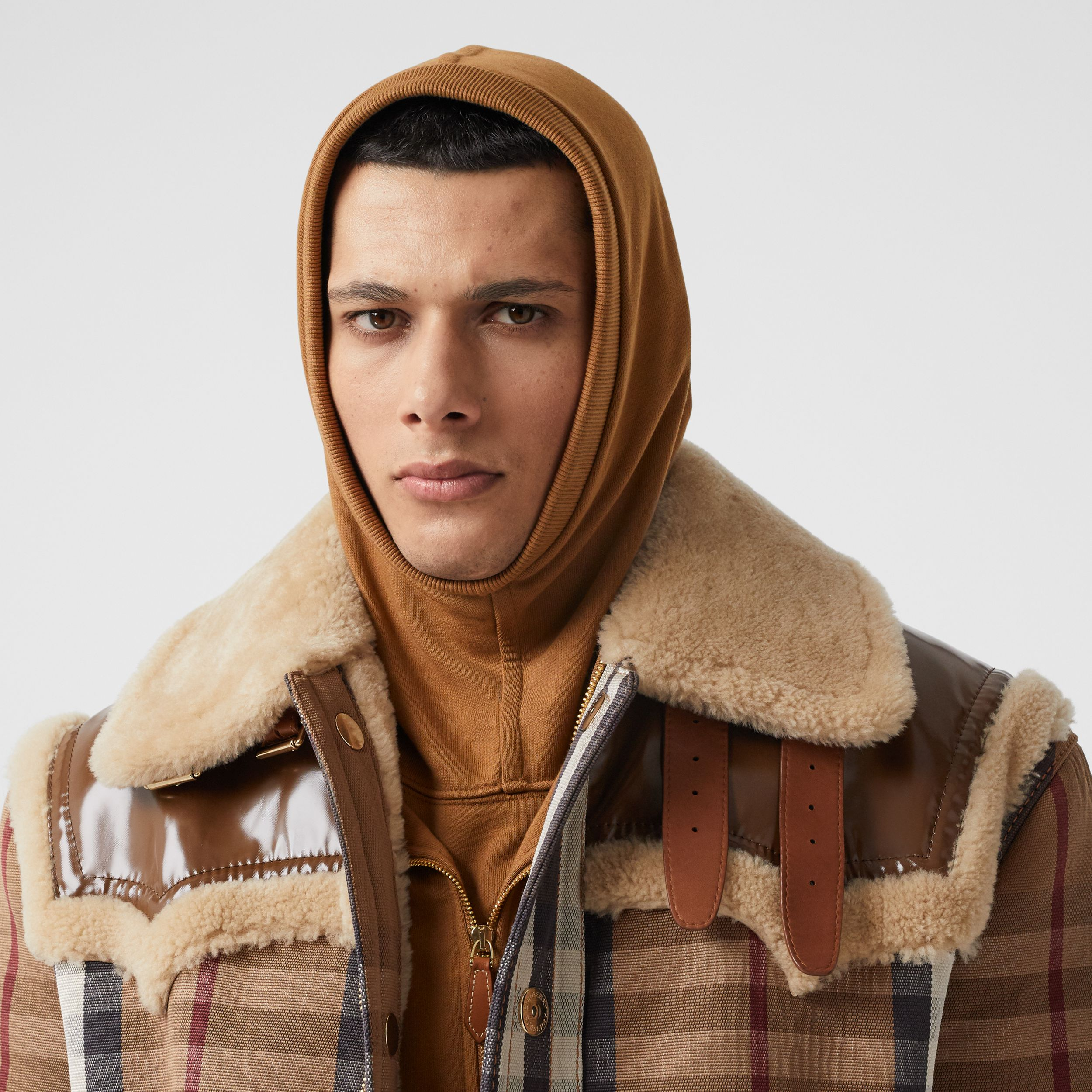 Logo Appliqué Cotton Hood in Fawn | Burberry - 3