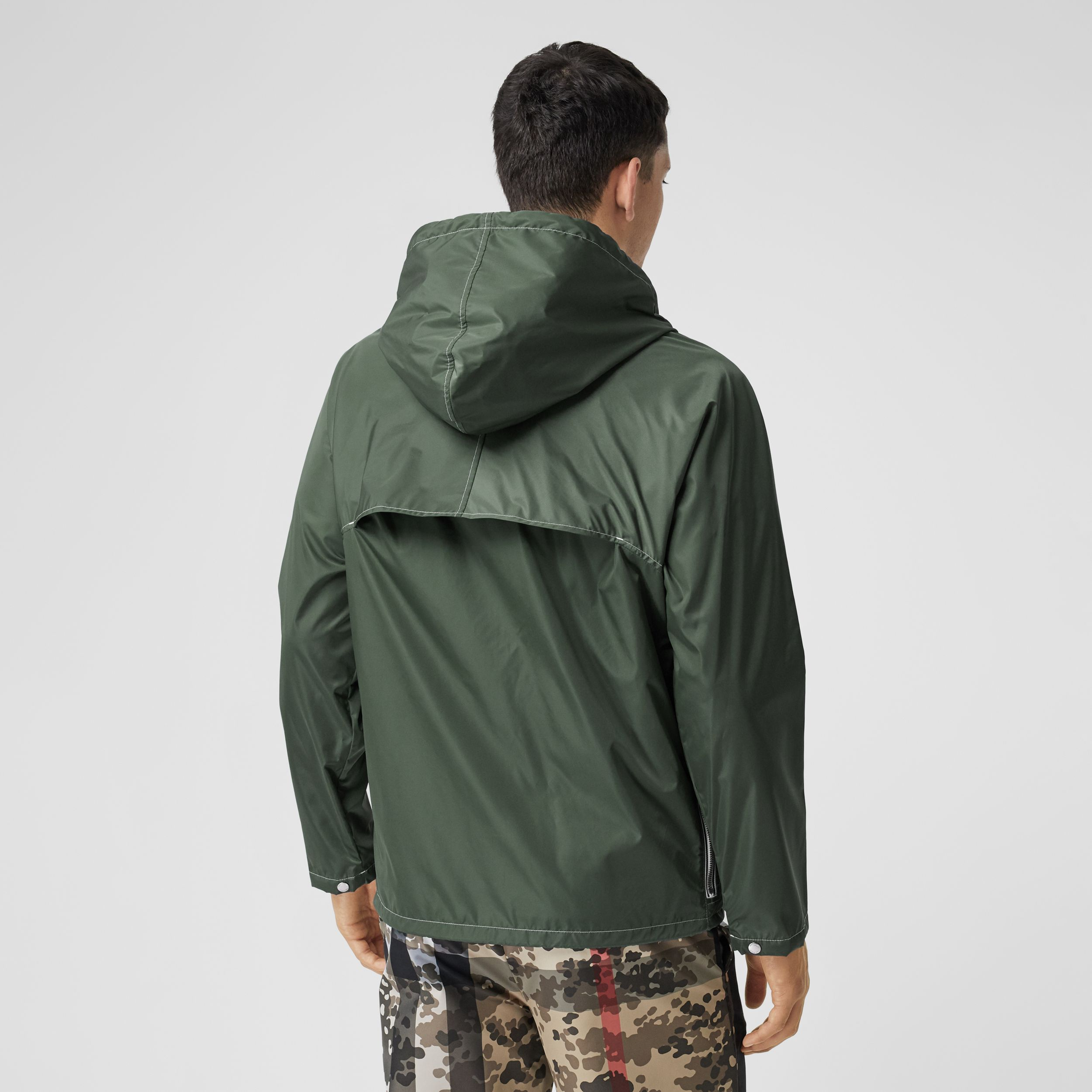 Logo Graphic Packaway Lightweight Hooded Jacket in Dark Pine Green - Men | Burberry - 3