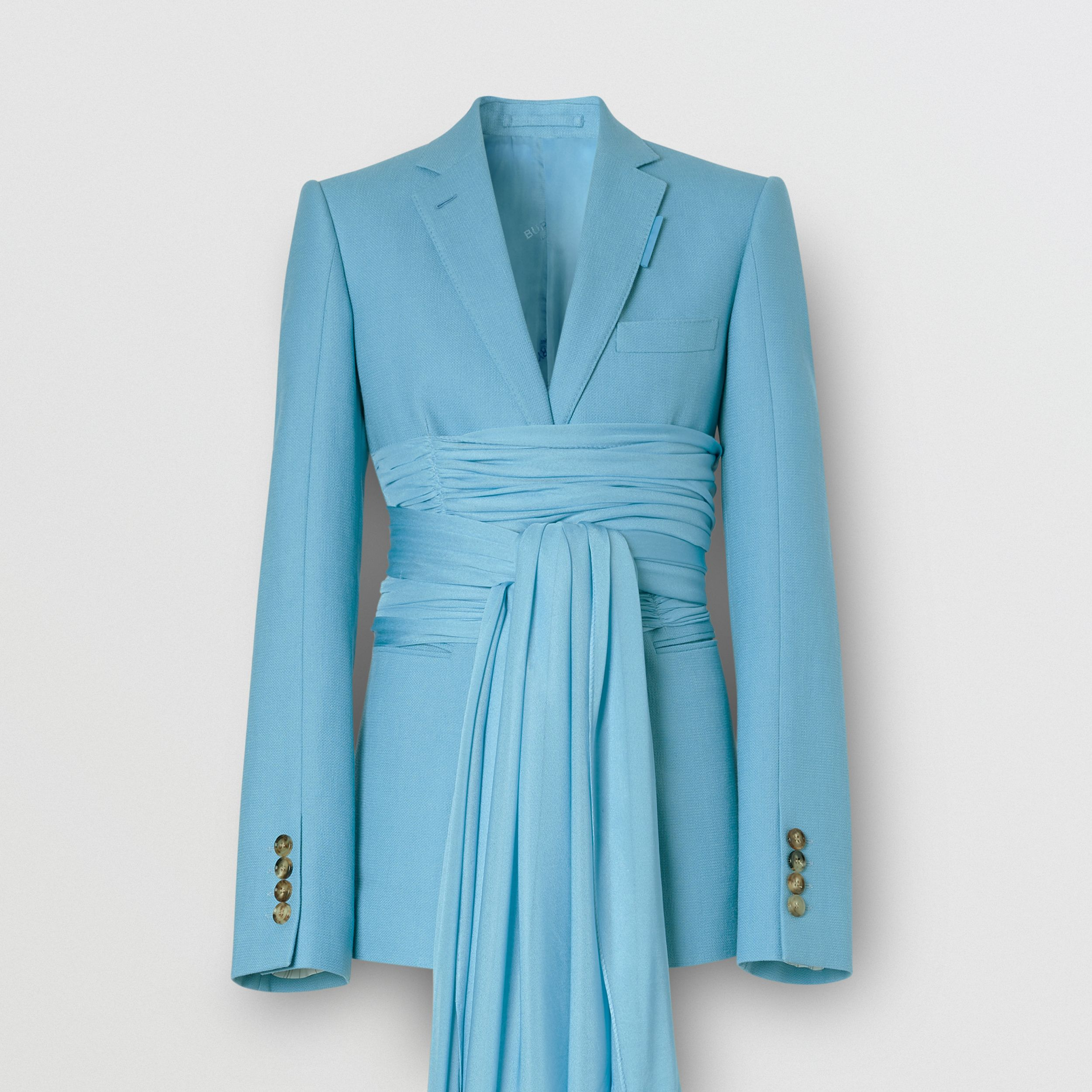 Jersey Sash Detail Wool Ramie Tailored Jacket in Blue Topaz - Women | Burberry - 4