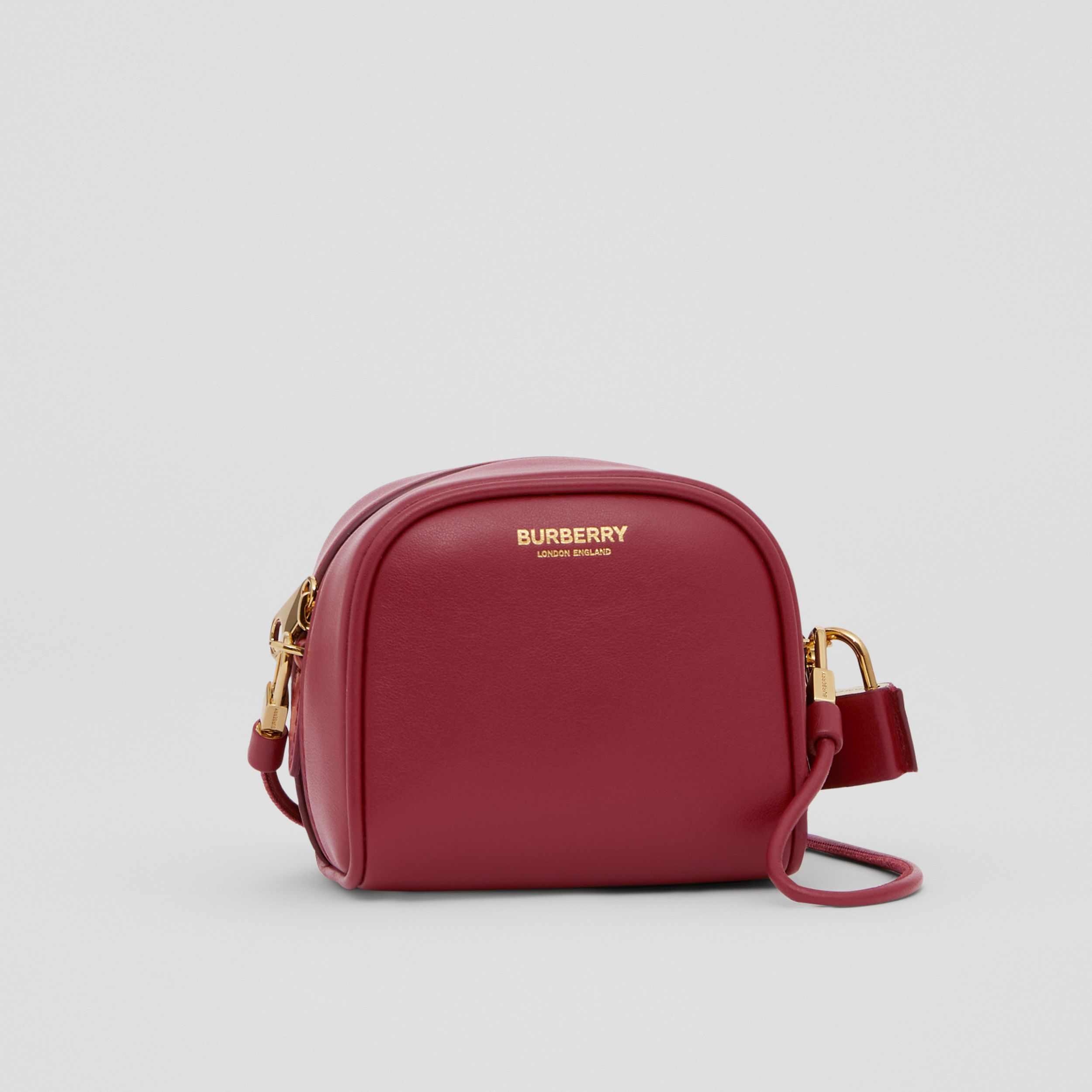 Micro Leather Cube Bag in Dark Crimson | Burberry Australia - 4