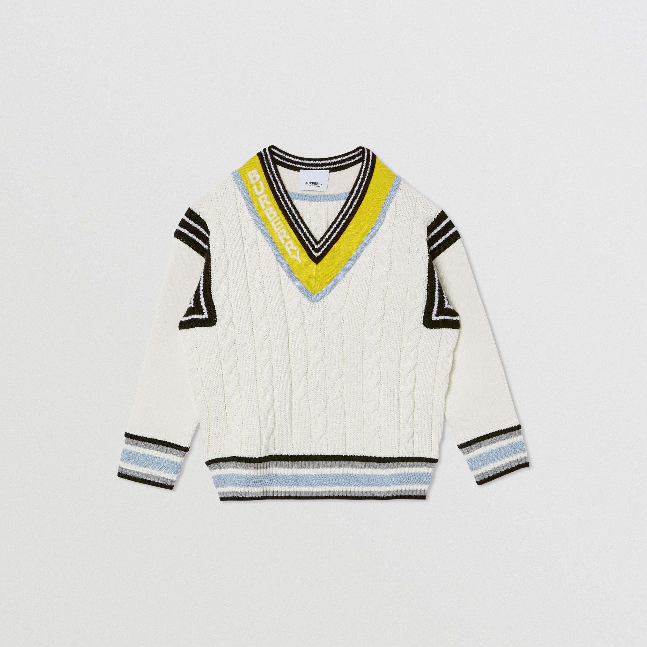 Logo Jacquard Cable Knit Cotton Cricket Sweater in White | Burberry - 1