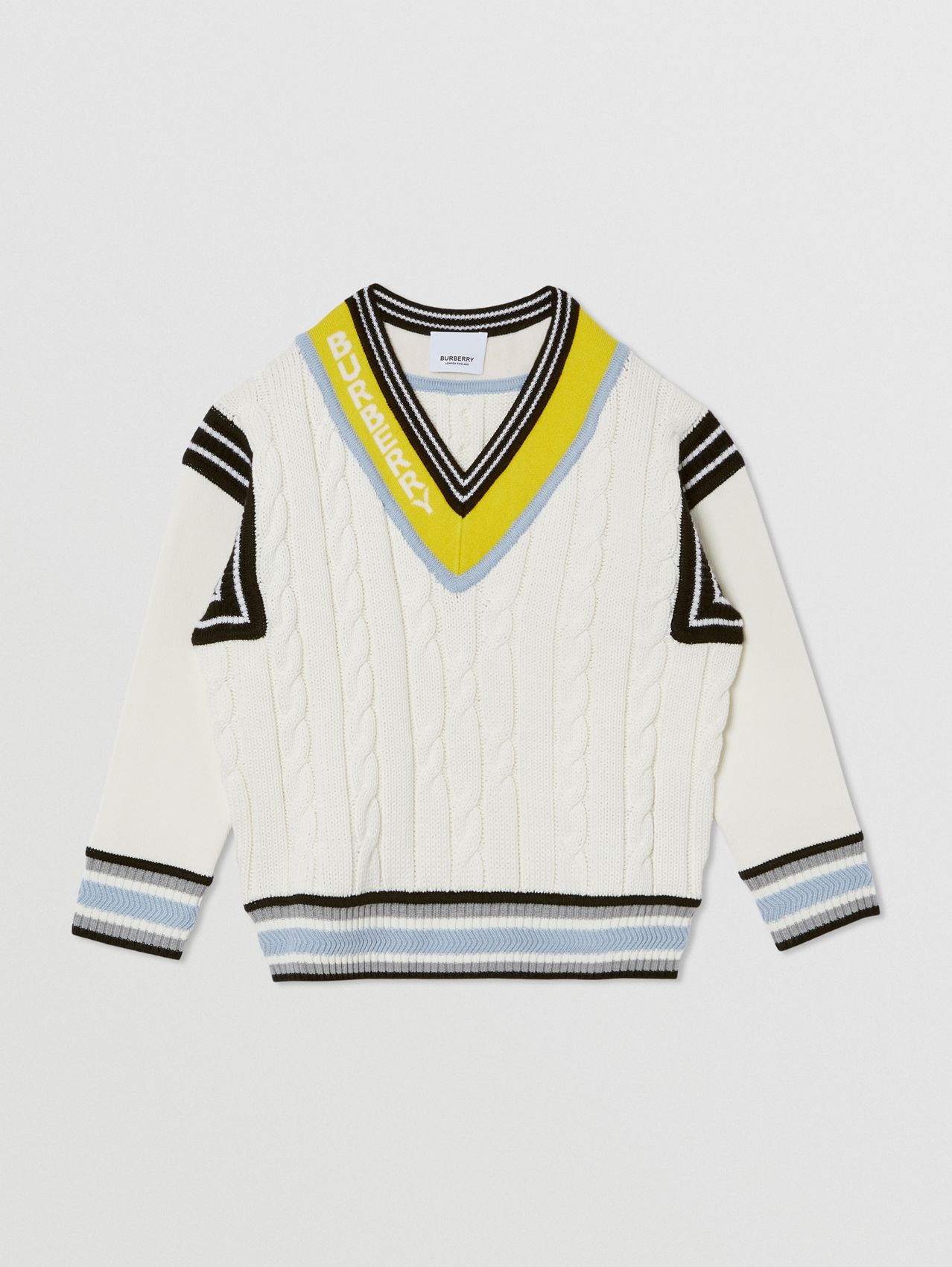 Logo Jacquard Cable Knit Cotton Cricket Sweater in White