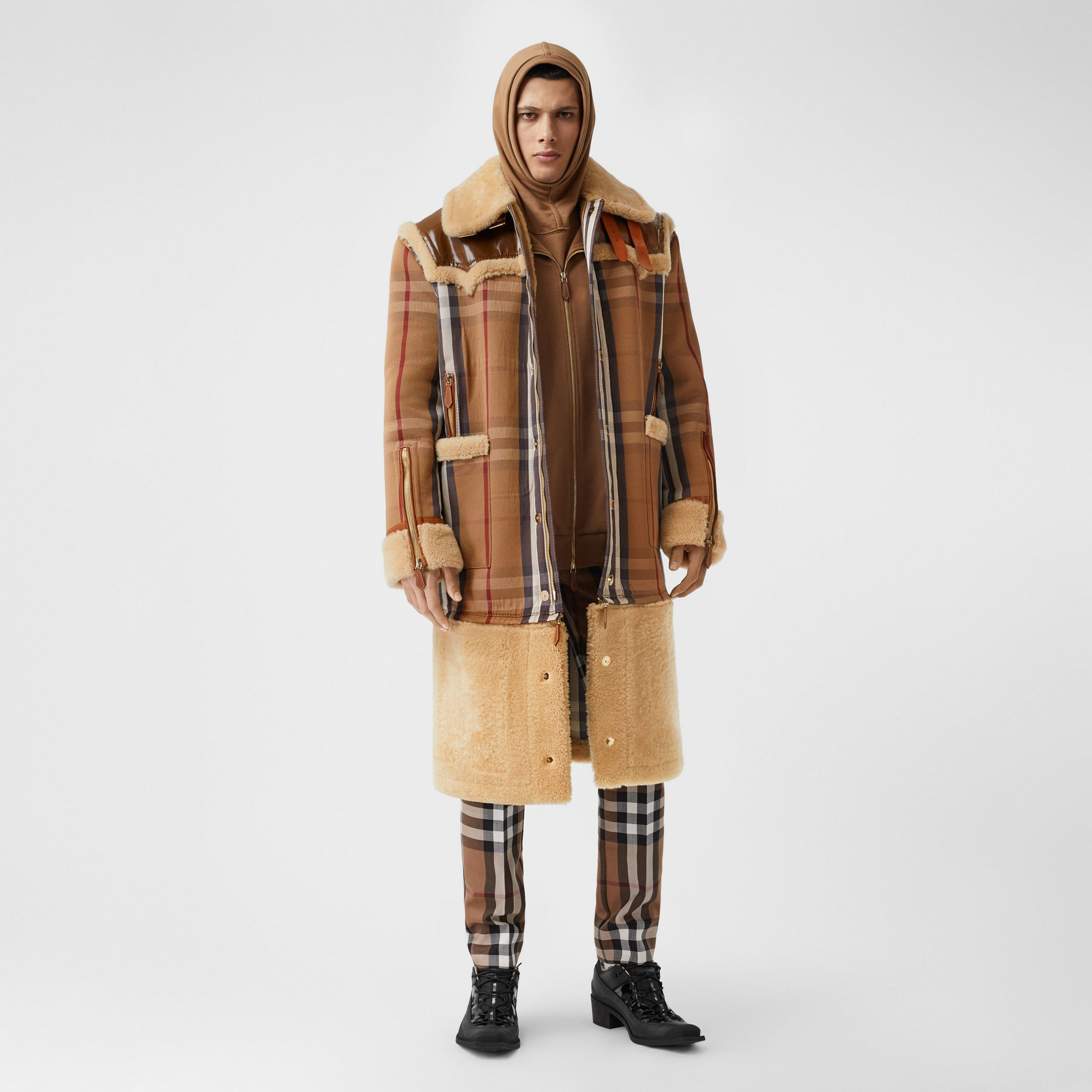 Cappotto in shearling e cotone tecnico con motivo House check (Marrone Betulla) | Burberry - 1