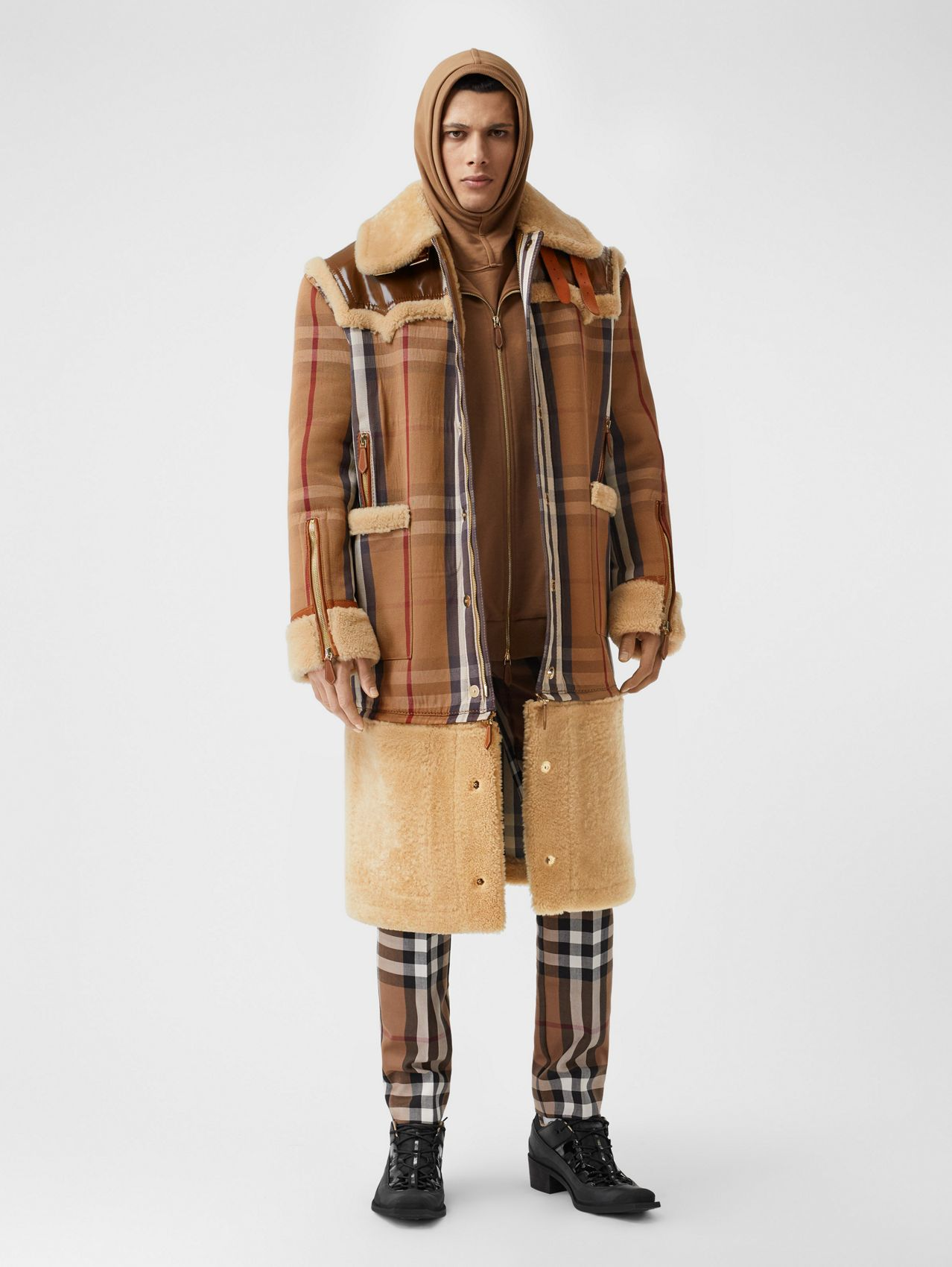 Shearling and House Check Technical Cotton Coat in Birch Brown