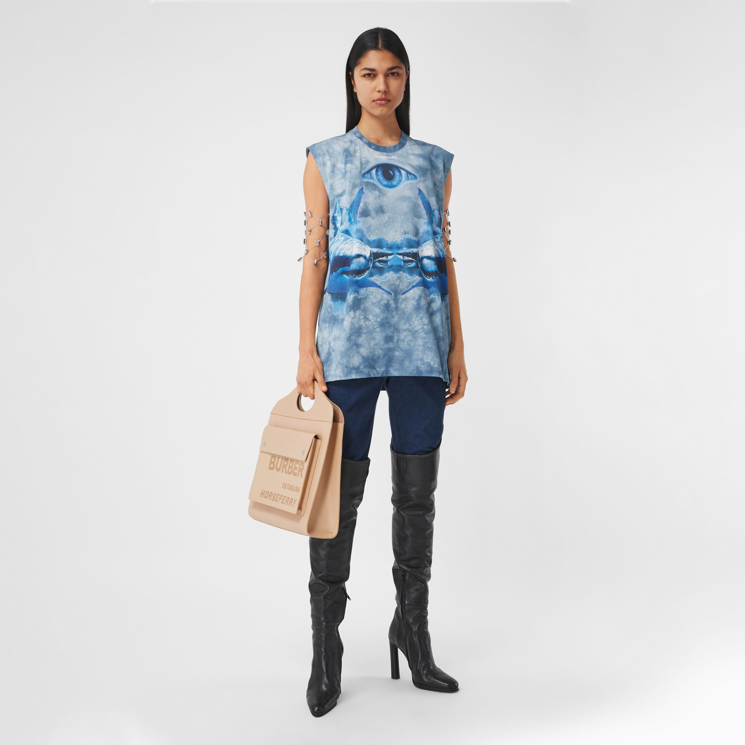 Shark Print Cotton Sleeveless Top in Ink Blue - Women | Burberry - 1