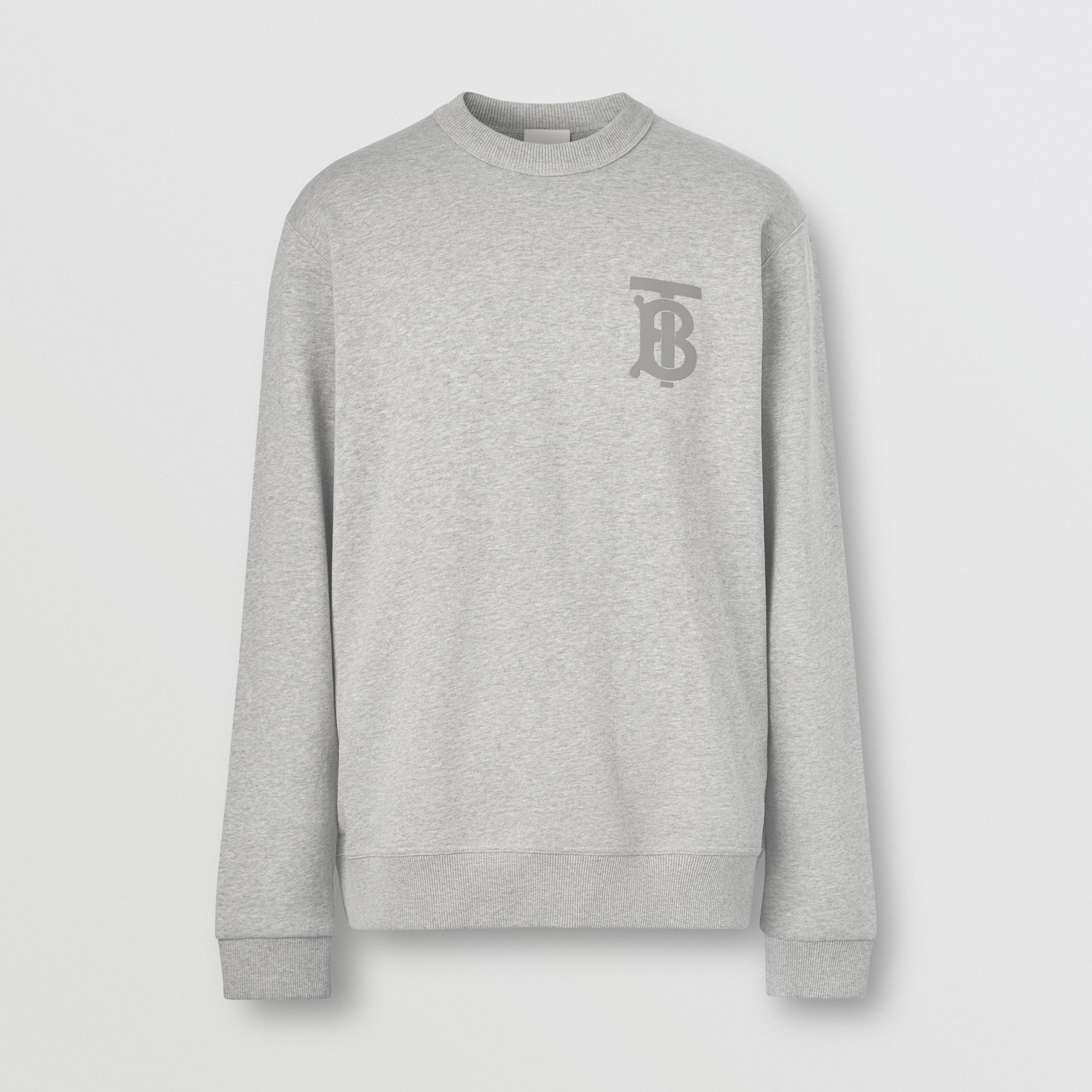 Monogram Motif Cotton Sweatshirt in Pale Grey Melange - Men | Burberry - 4