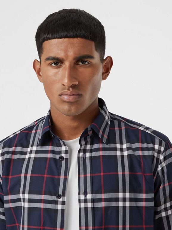 Check Cotton Poplin Shirt in Navy - Men | Burberry Australia - cell image 1
