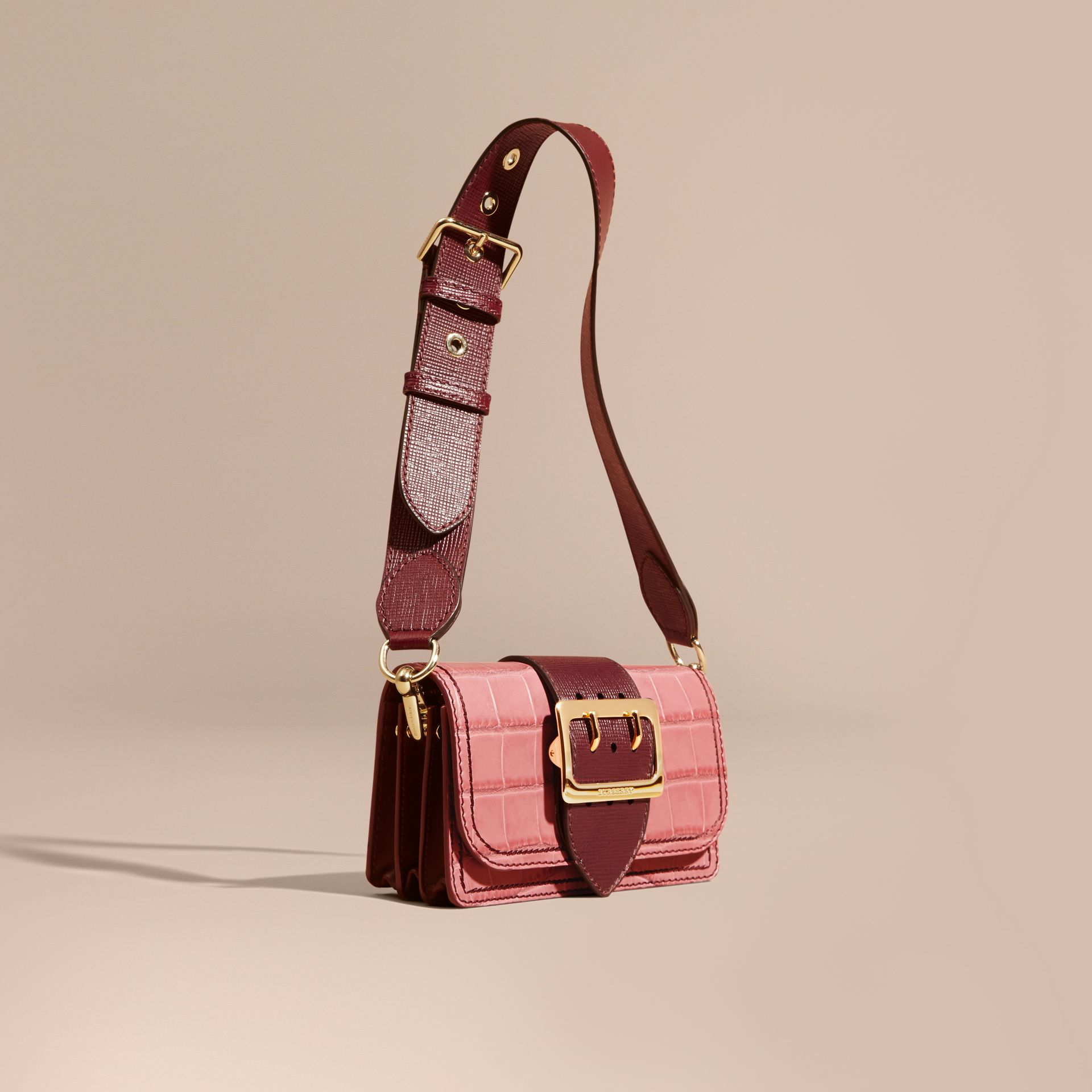Dusky pink/ burgundy The Small Buckle Bag in Alligator and Leather Dusky Pink/ Burgundy - gallery image 1