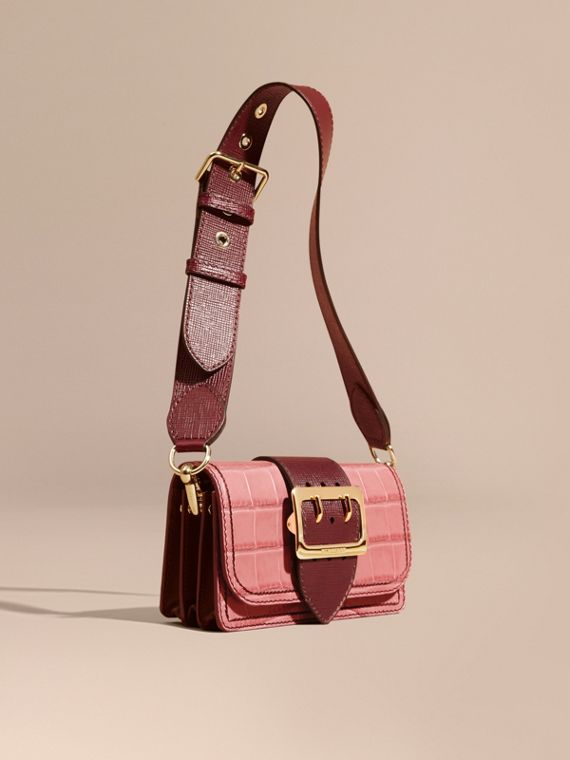 The Small Buckle Bag in Alligator and Leather in Dusky Pink/ Burgundy