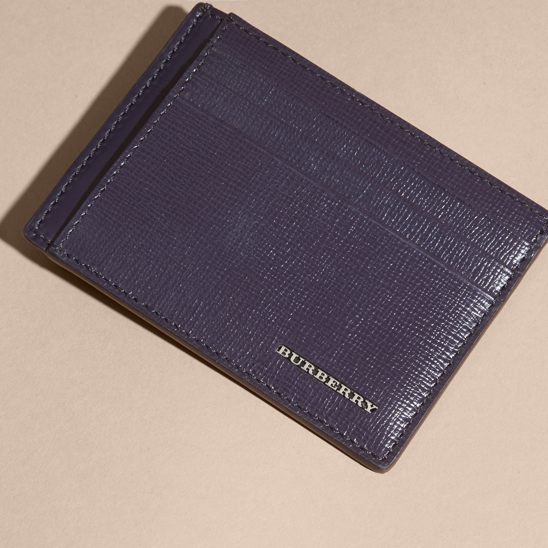 London Leather Card Case in Dark Navy | Burberry - gallery image 6