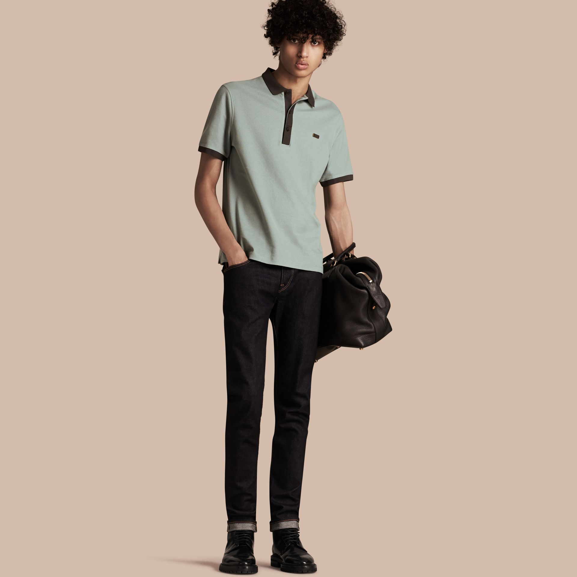 Eucalyptus green/charcoal Mercerised Cotton Piqué Polo Shirt Eucalyptus Green/charcoal - gallery image 1