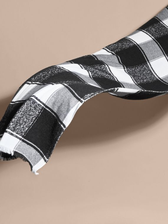 Black Oversize Check Cashmere Silk Scarf - cell image 3