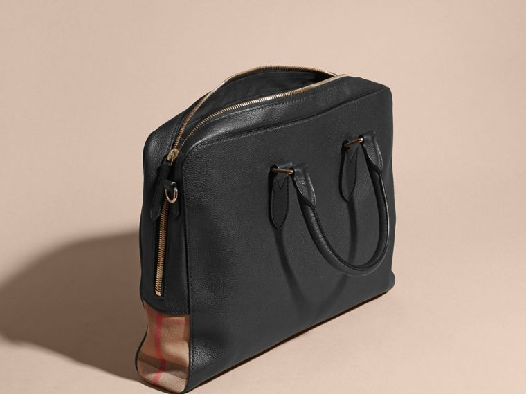 Leather and House Check Briefcase in Black - Men | Burberry - cell image 4