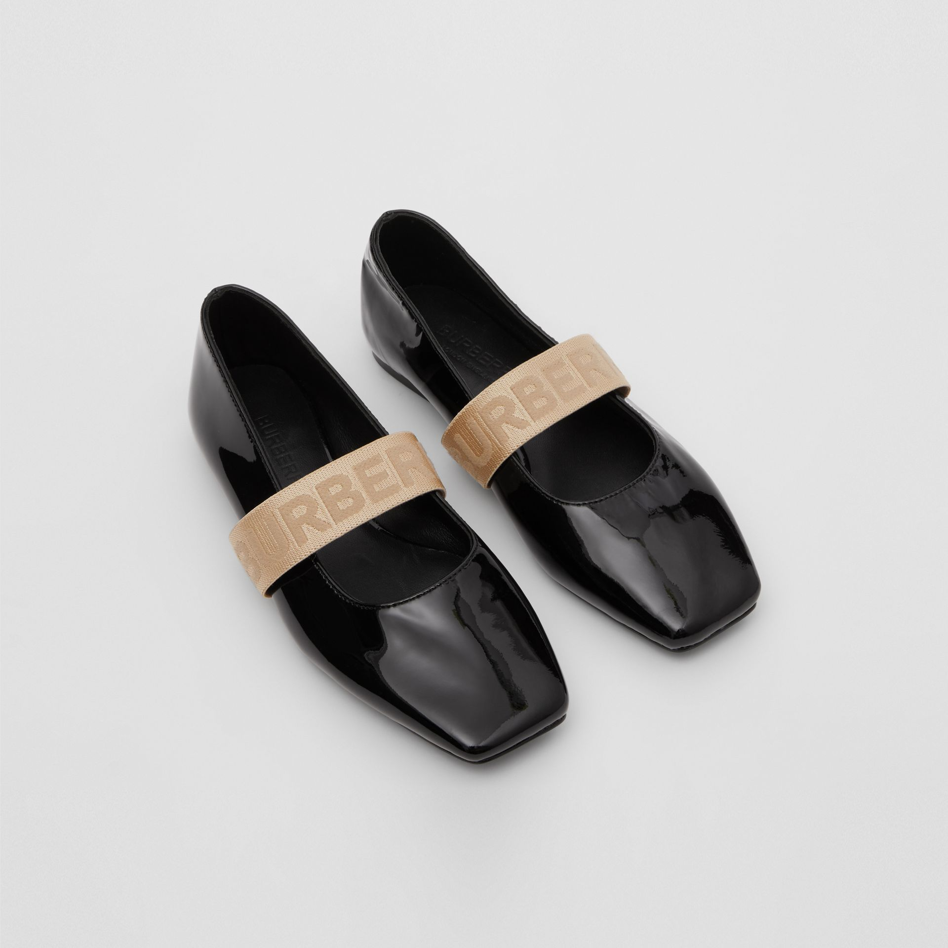 Logo Detail Patent Leather Flats in Black - Children | Burberry - gallery image 0