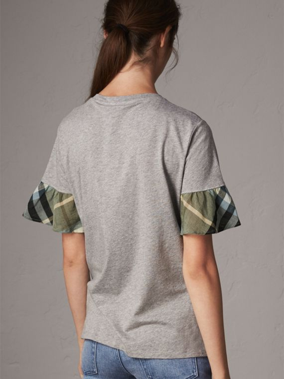 Flared-sleeve Check Detail Cotton T-shirt in Pale Grey Melange - Women | Burberry - cell image 2