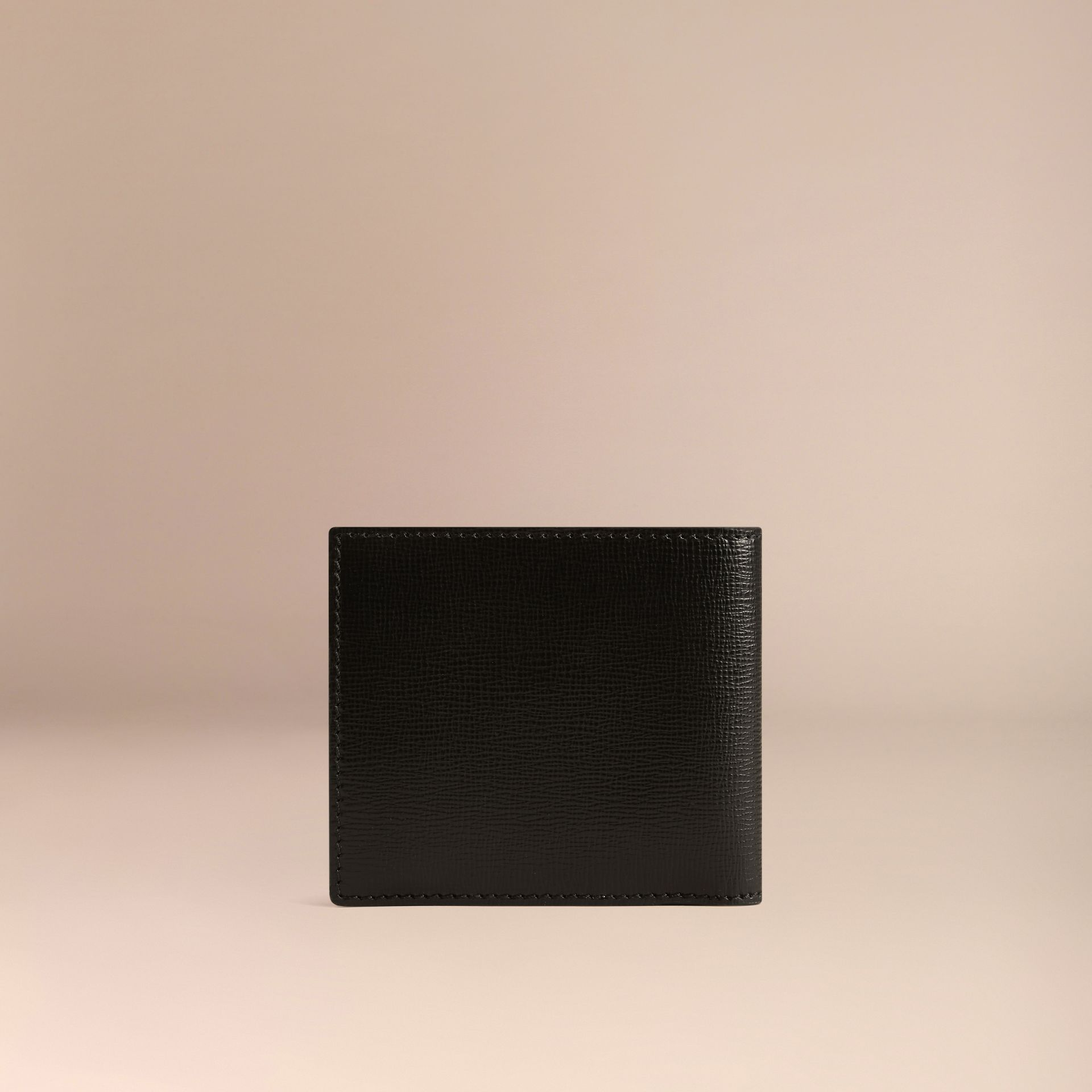 Black London Leather Folding Coin Wallet Black - gallery image 3
