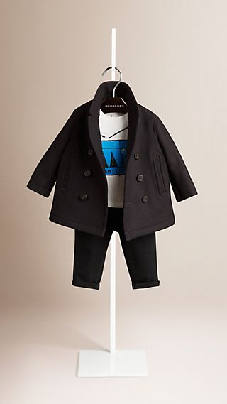 Wool Blend Twill Pea Coat