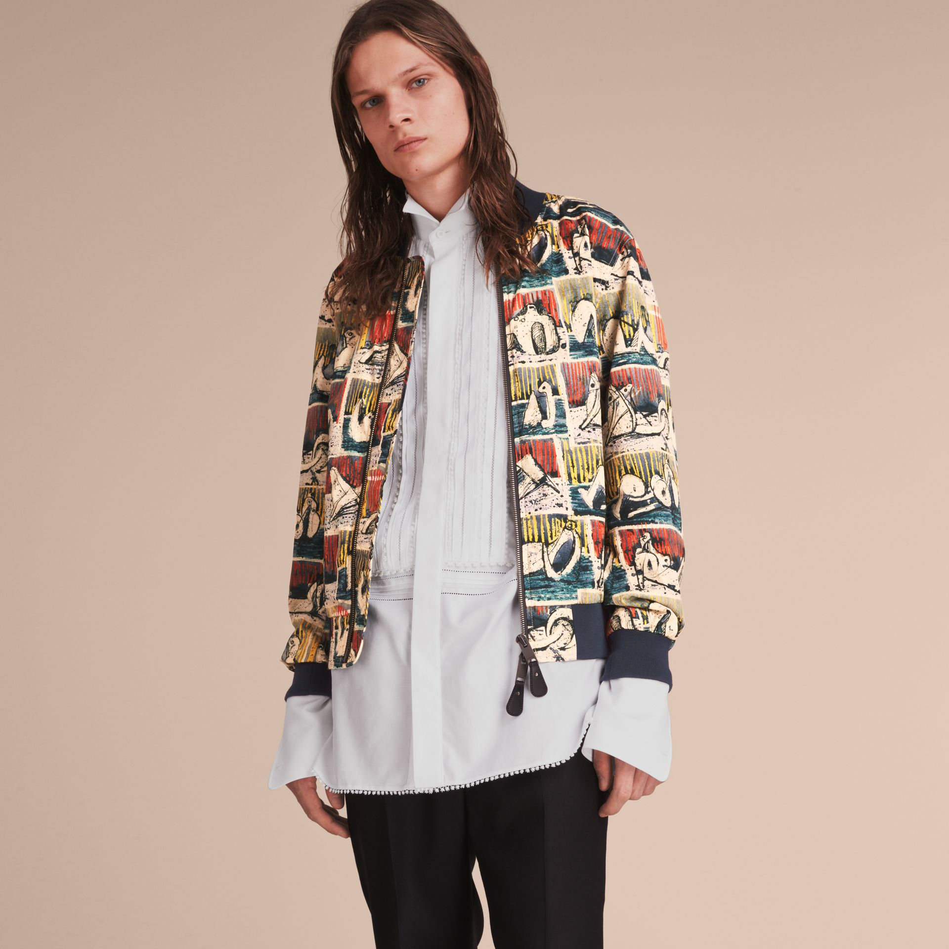 Reclining Figures Print Cotton Bomber Jacket in Stone Blue - Men | Burberry - gallery image 6