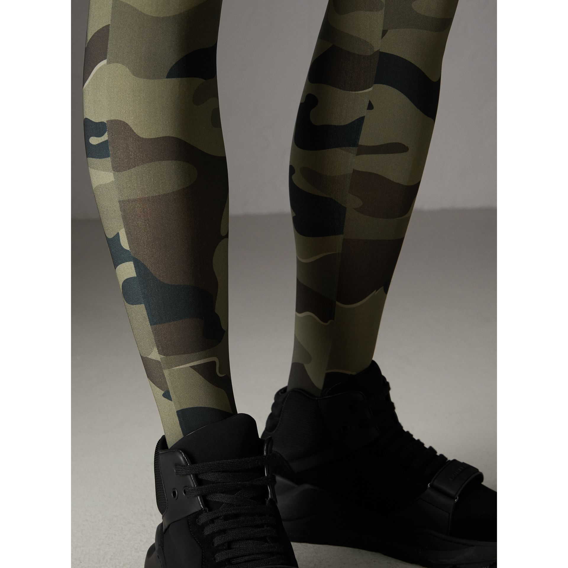 Camouflage Print Stretch Jersey Leggings in Slate Green | Burberry - gallery image 1