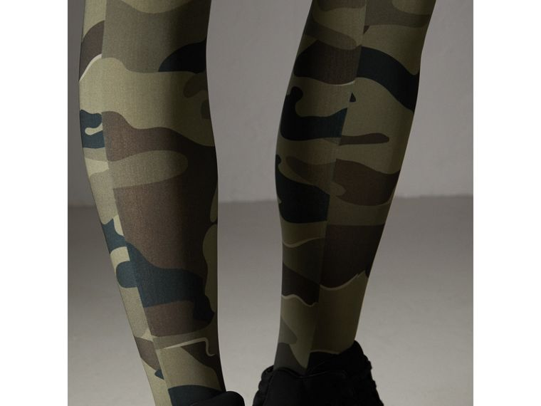 Camouflage Print Stretch Jersey Leggings in Slate Green | Burberry - cell image 1